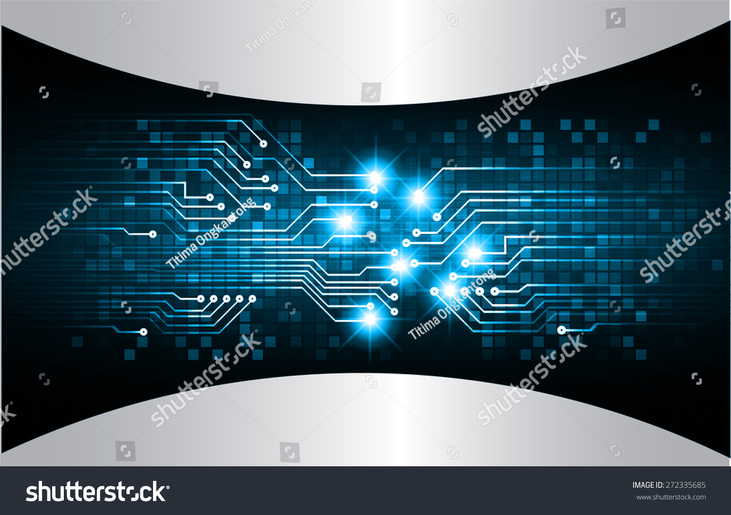 Abstract Circuit Board Background By Silvertiger: Dark Blue Color Light Abstract Technology Stock Vector