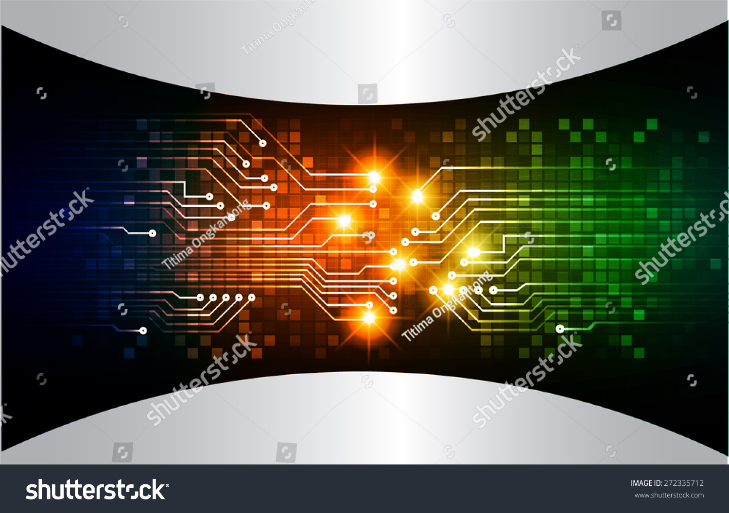 Abstract Circuit Board Background By Silvertiger: Dark Blue Orange Green Color Light Abstract Technology