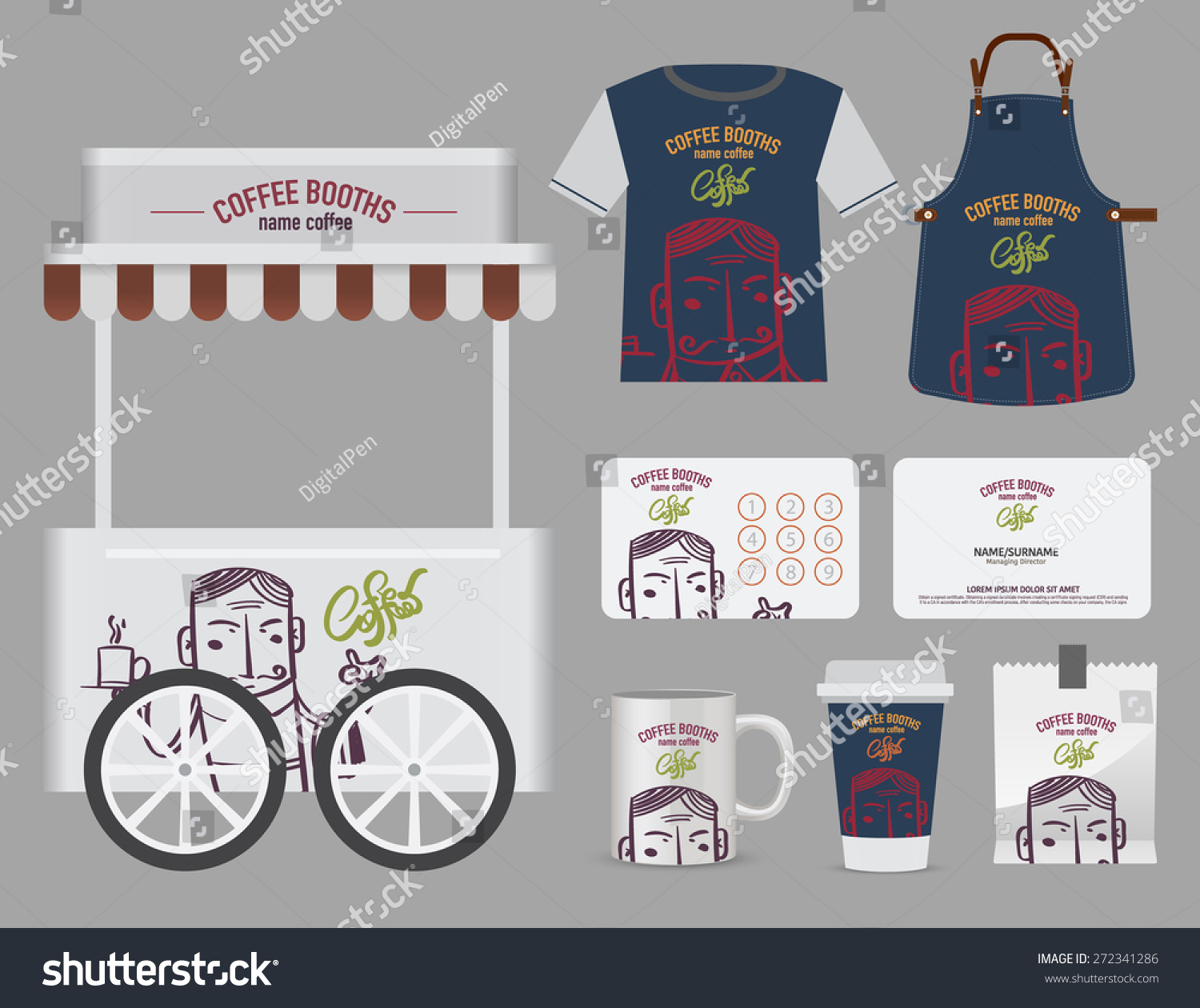 Shirt design card - Vector Coffee Booths Set T Shirt Name Card And Free Symbol Design
