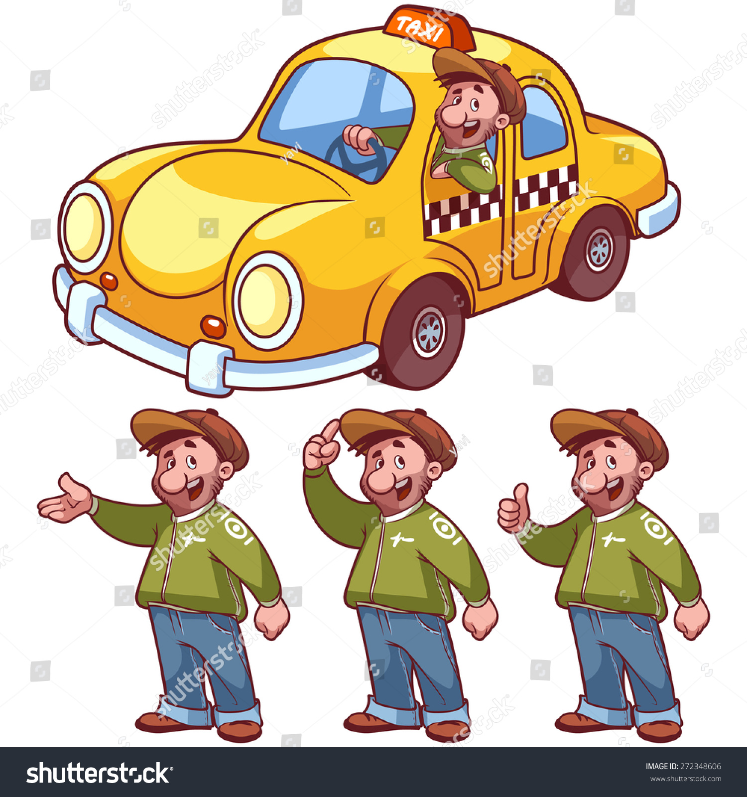 Drive To Work Yellow Car Clipart