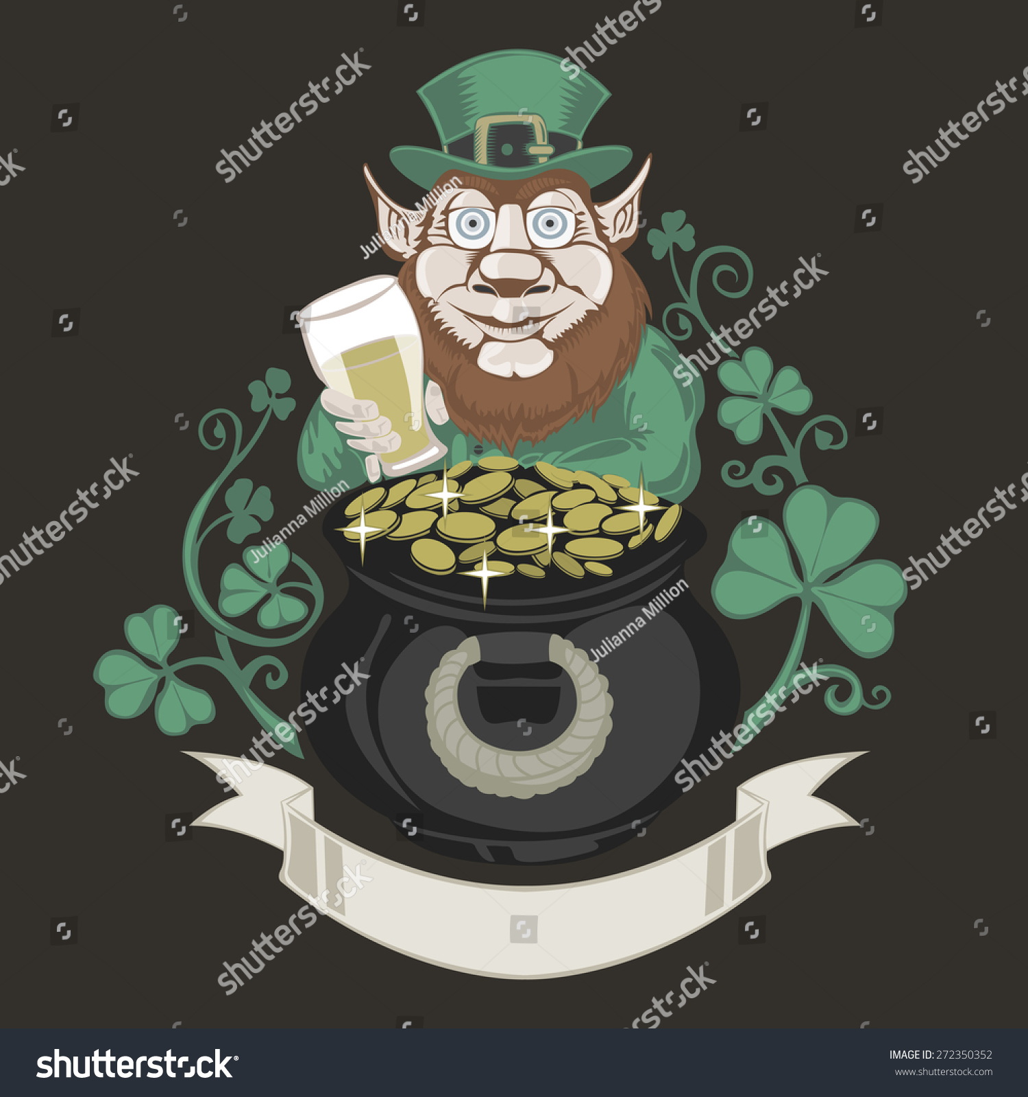 leprechaun pot gold holding beer colored stock vector 272350352