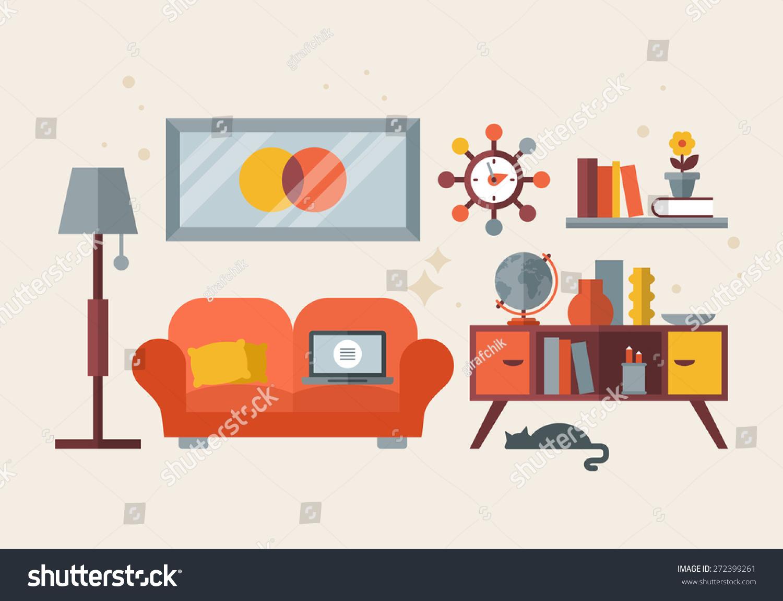 Flat modern design for mid century living room home for Living office concept