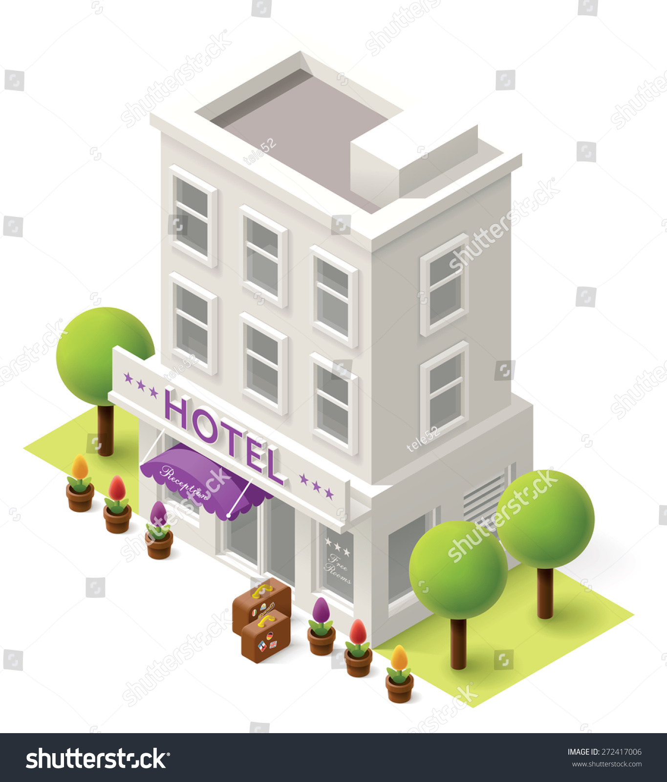 vector isometric icon representing hotel building stock Storefront Clip Art Black and White Old Storefront