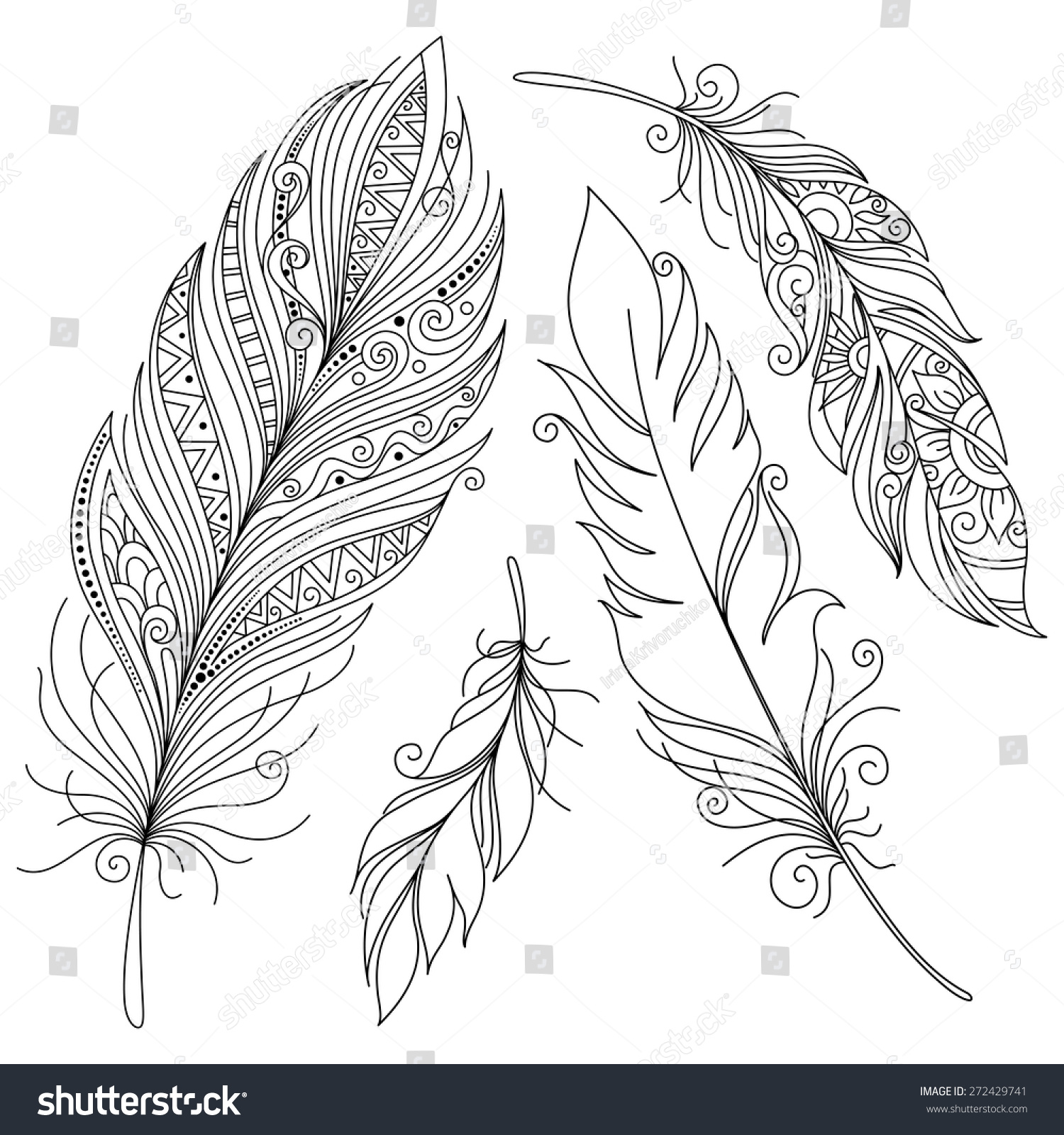 Vector peerless decorative feather tribal design stock for Coloring pages of feathers