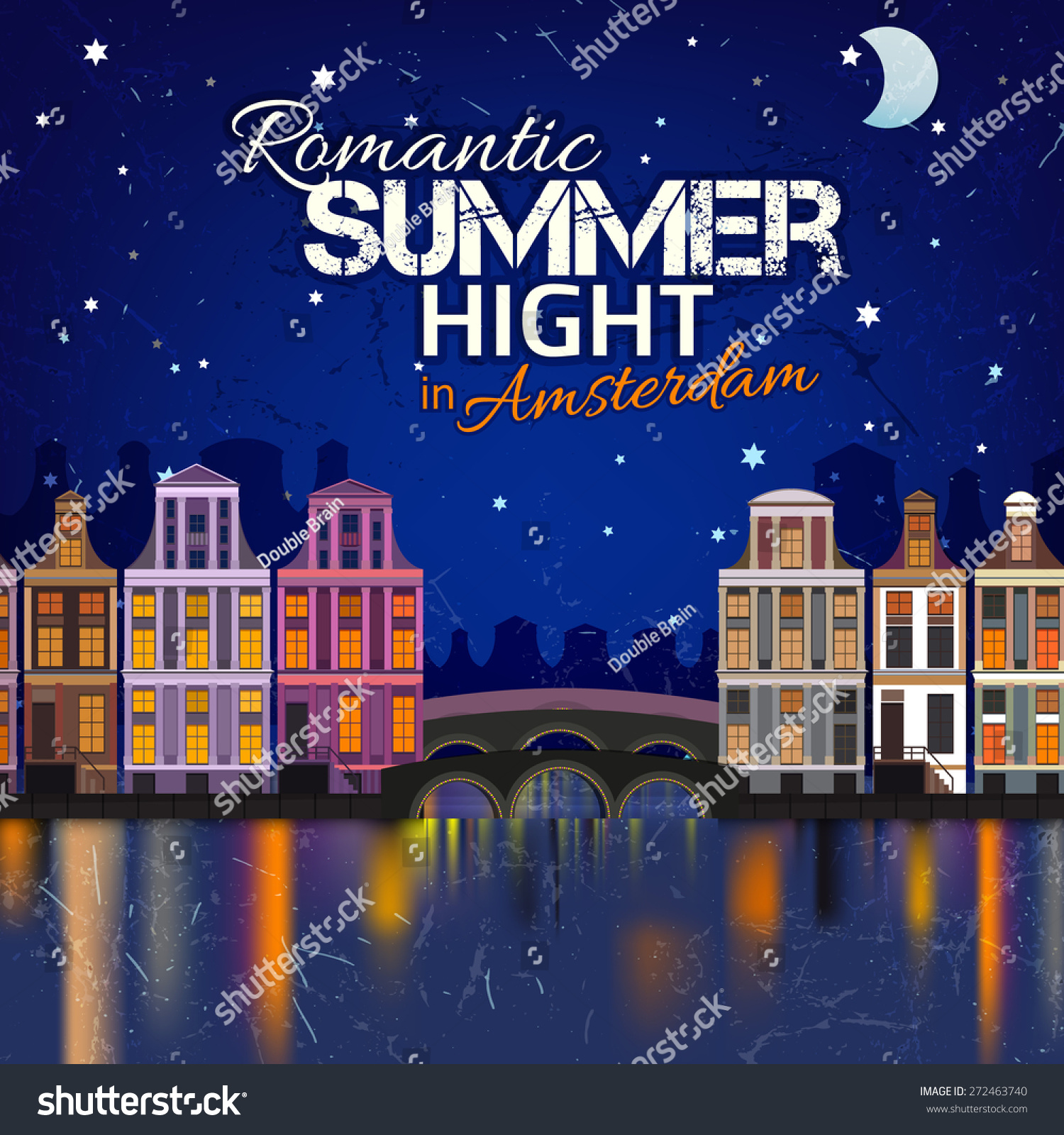vector illustration romantic summer night cityscape stock