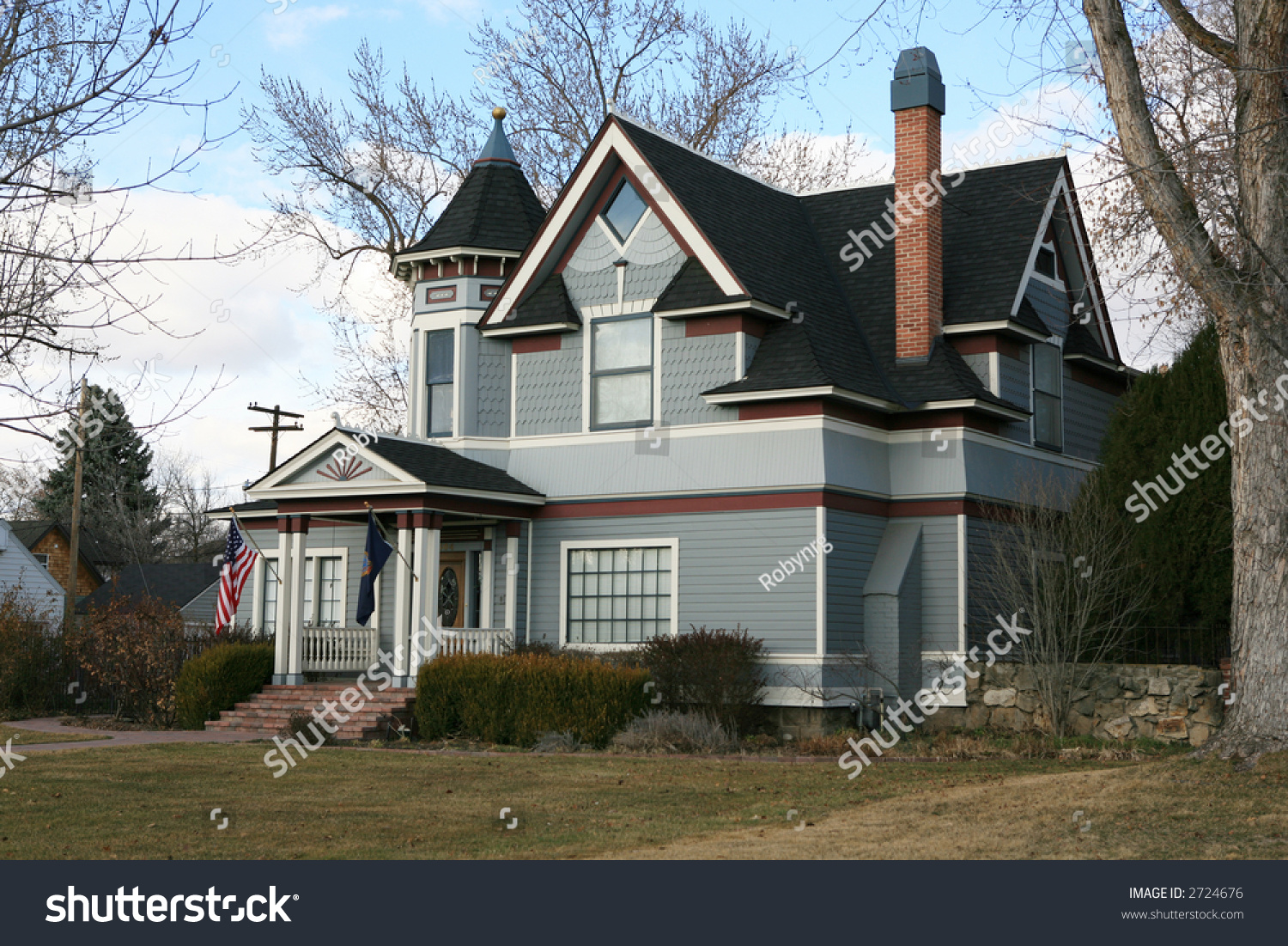 vintage blue victorian house red white stock photo 2724676