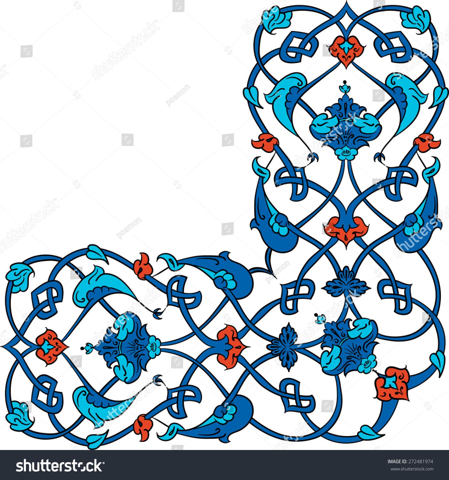 Traditional Turkish Ottoman Red Flower Home Decor Mosaic: Ottoman Turkish Arabic African Islamic Floral Stock Vector