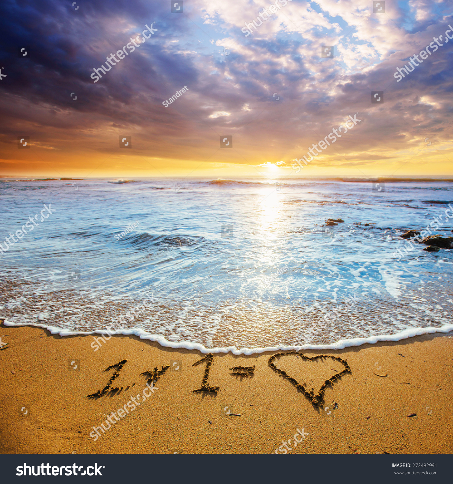 Sandy Beach: Sunset On The Sandy Beach. Stock Photo 272482991