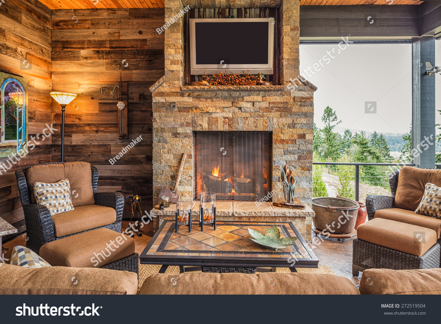 covered outdoor patio outside new home stock photo 272519504