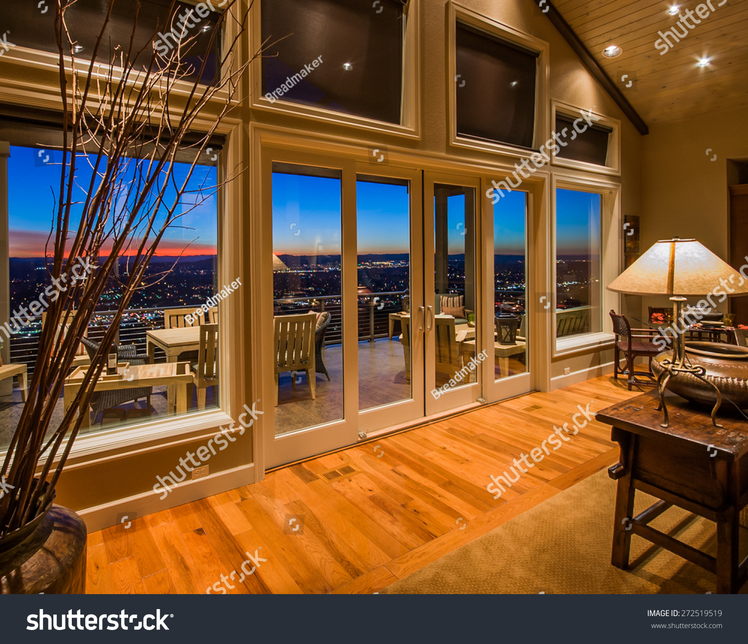 Living room amazing sunset view large stock photo for Luxury home windows