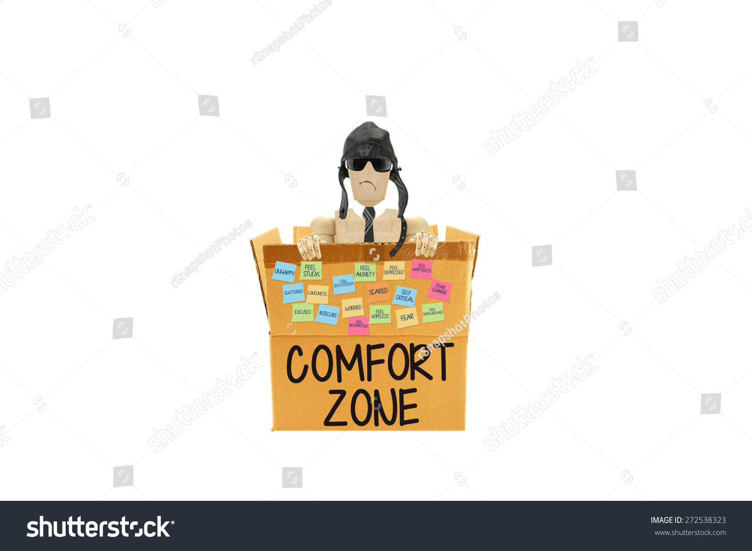 comfort zone mannequin frowning in box post it notes fear anxiety depressed unhappy excuses. Black Bedroom Furniture Sets. Home Design Ideas