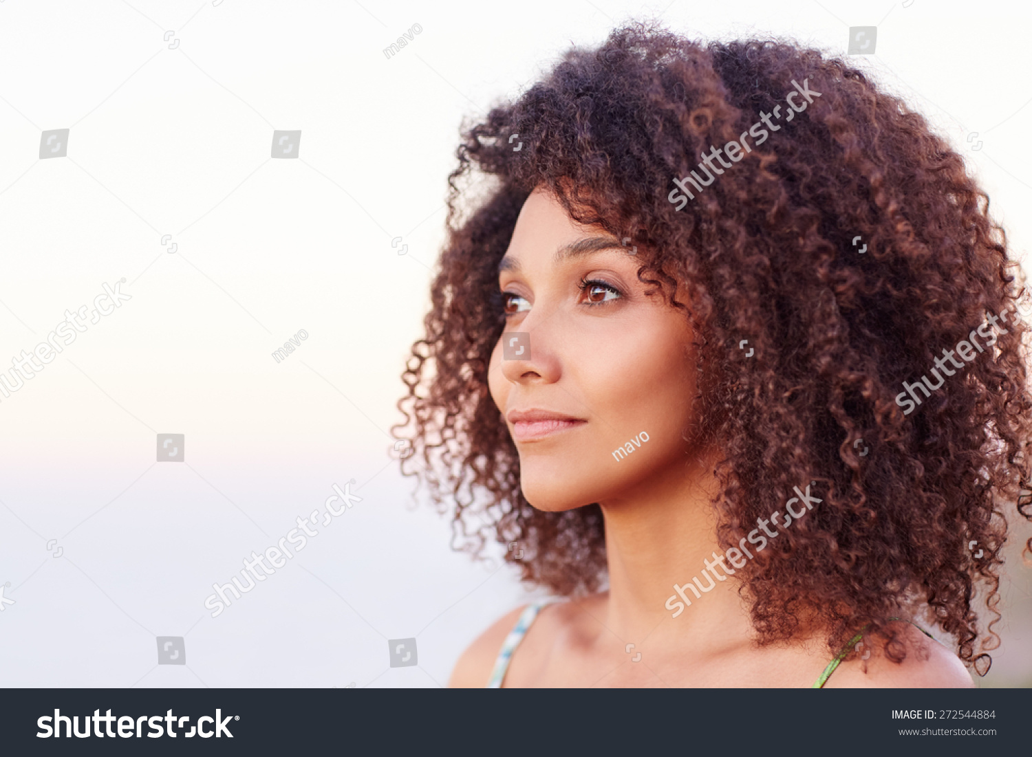 Fabulous Beautiful Mixed Race Woman With Curly Afro Hair Looking Serenely Hairstyles For Men Maxibearus