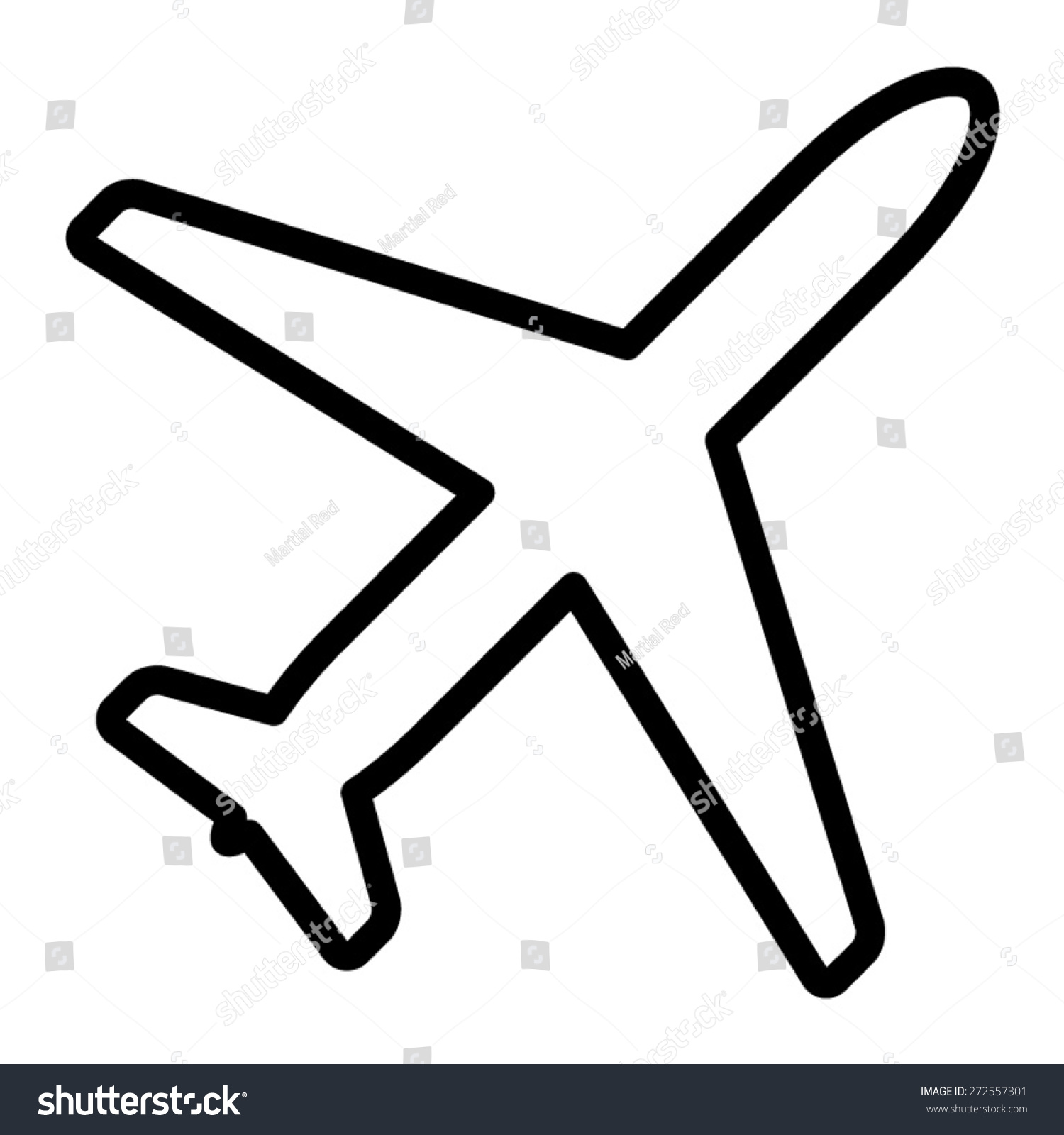 airplane aviation airline plane top view stock vector 272557301