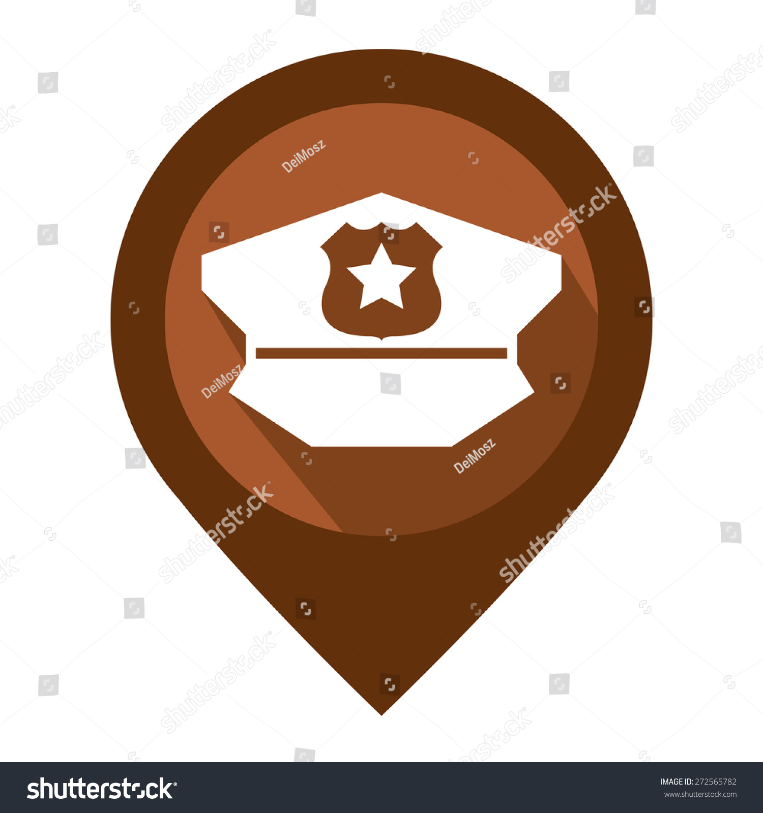Brown Map Pointer Icon Police Station Stock Illustration 272565782