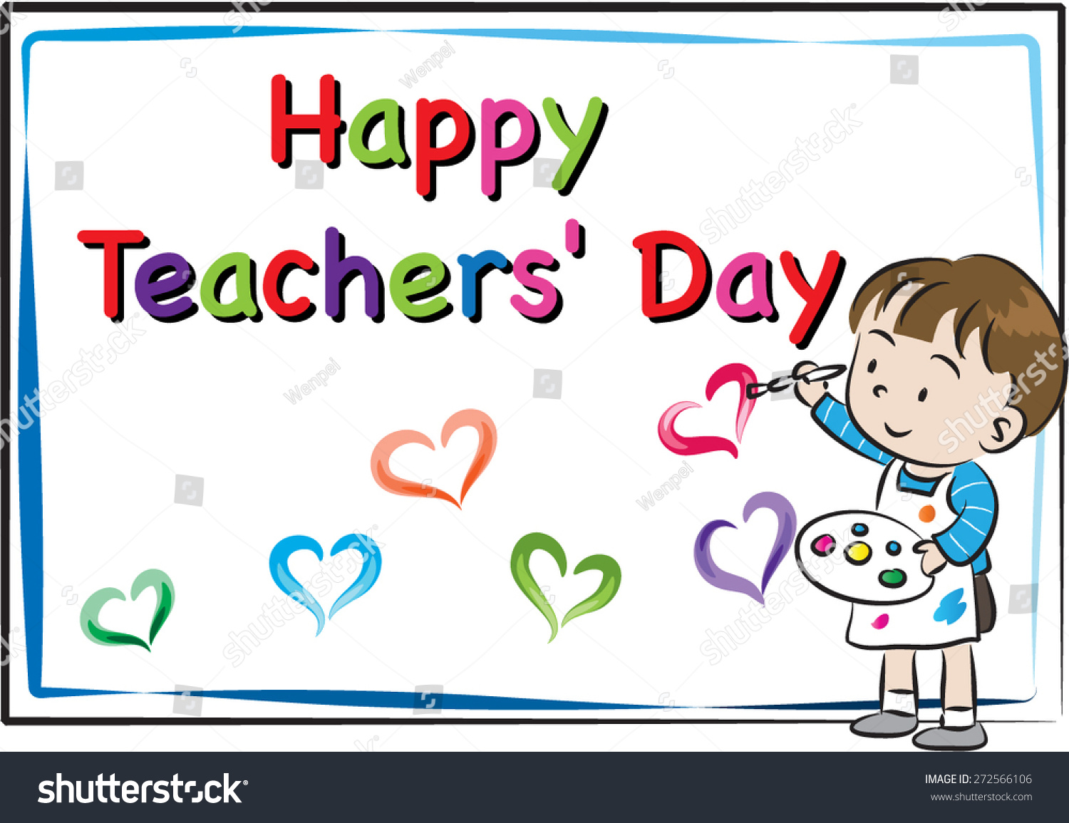Happy Teachers Day Card Stock Vector Royalty Free 272566106