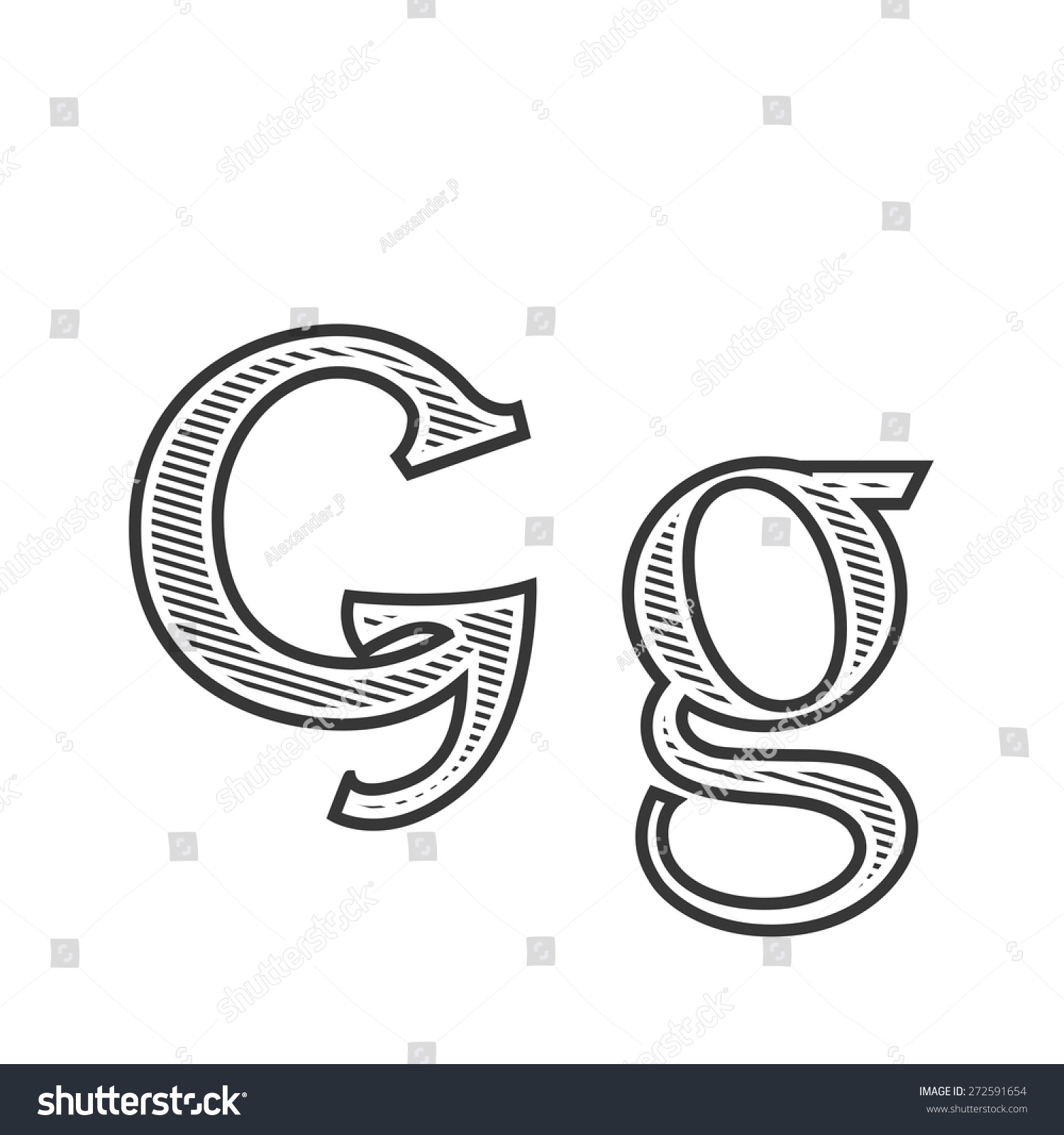 Font Tattoo Engraving Letter G With Shading Other Version