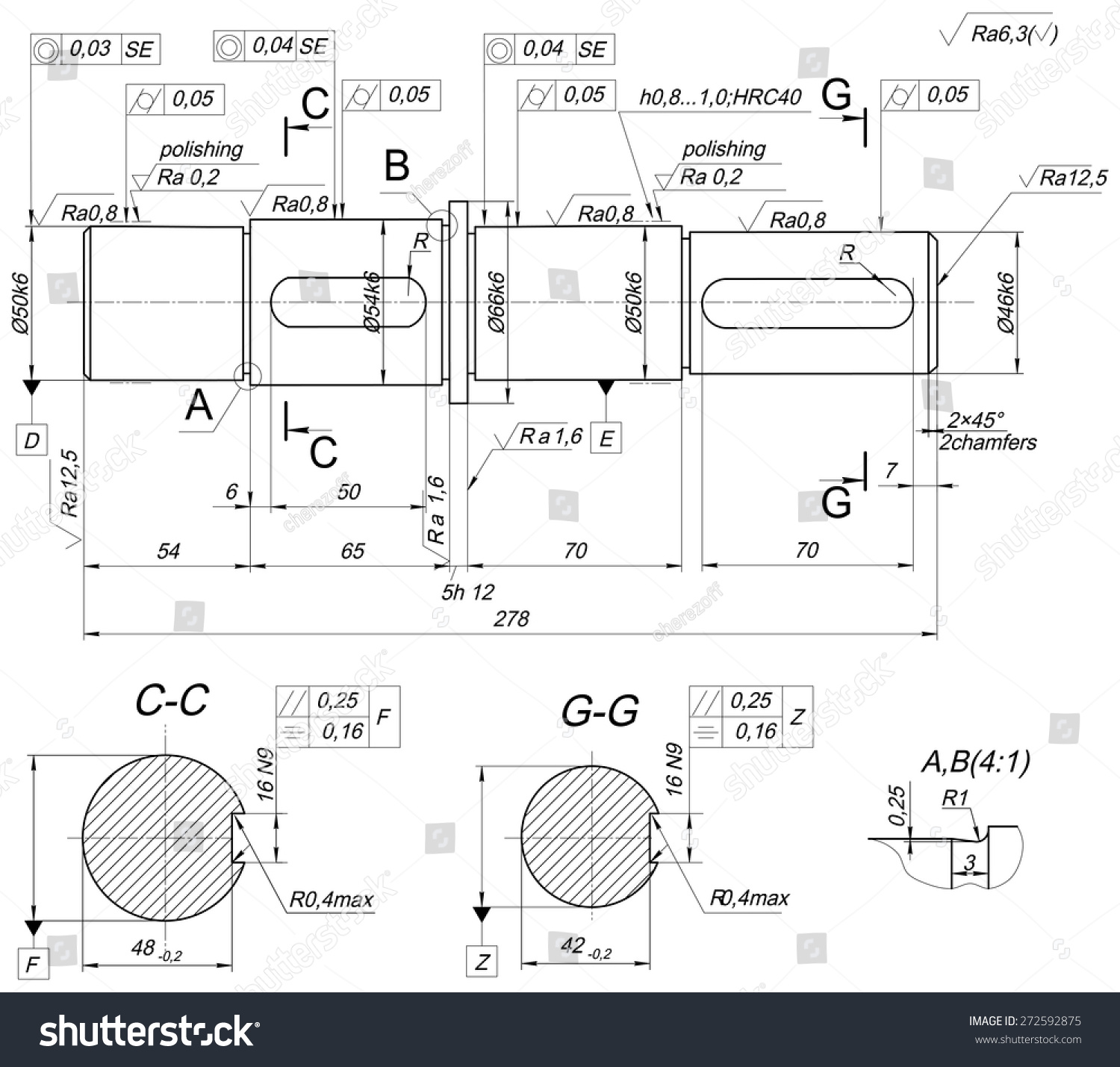Drawing Lines Engineering : Expanded sketch shaft polishing chamfers hatching stock