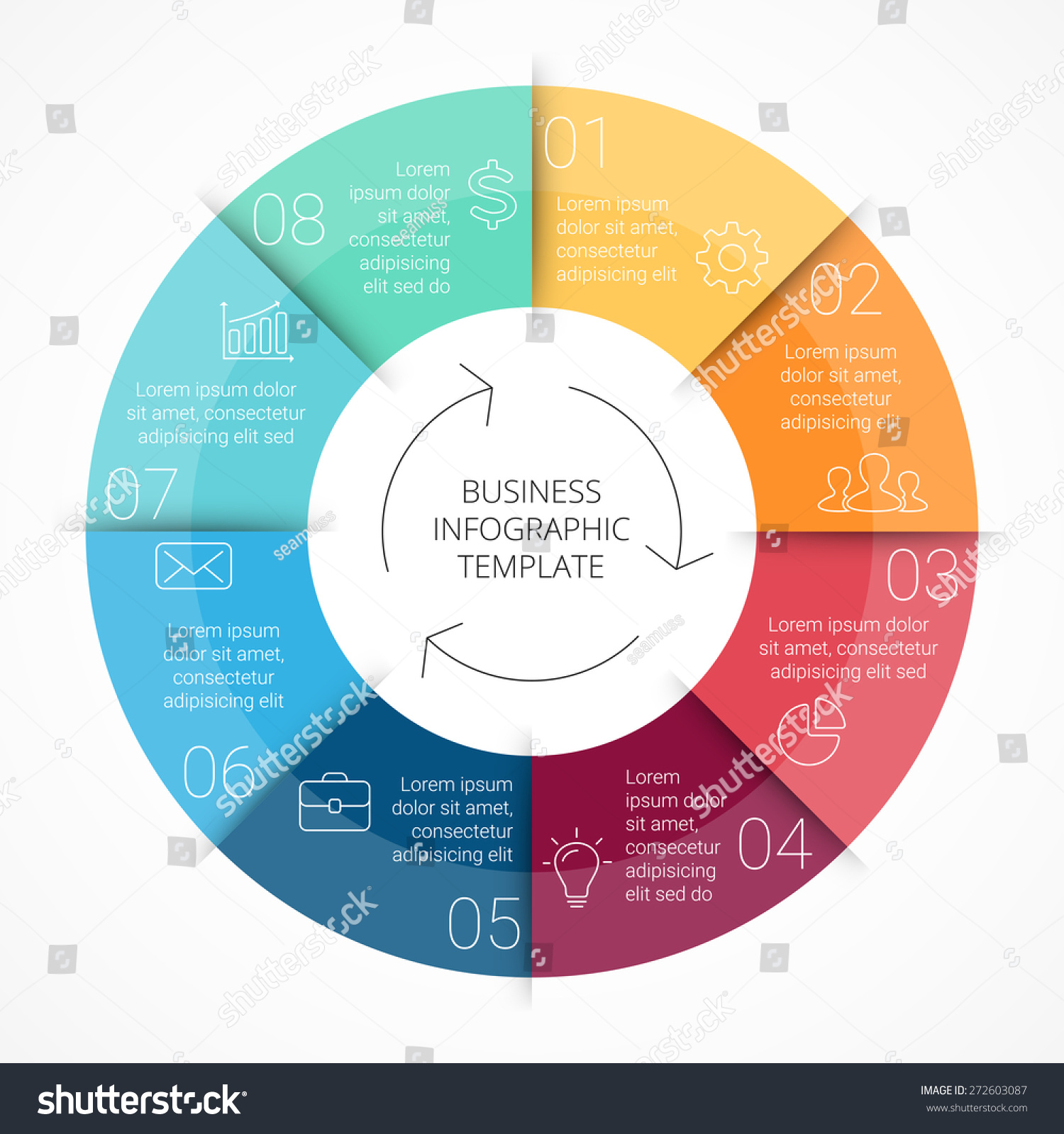 Vector circle color infographic. Template for cycle diagram, graph ...