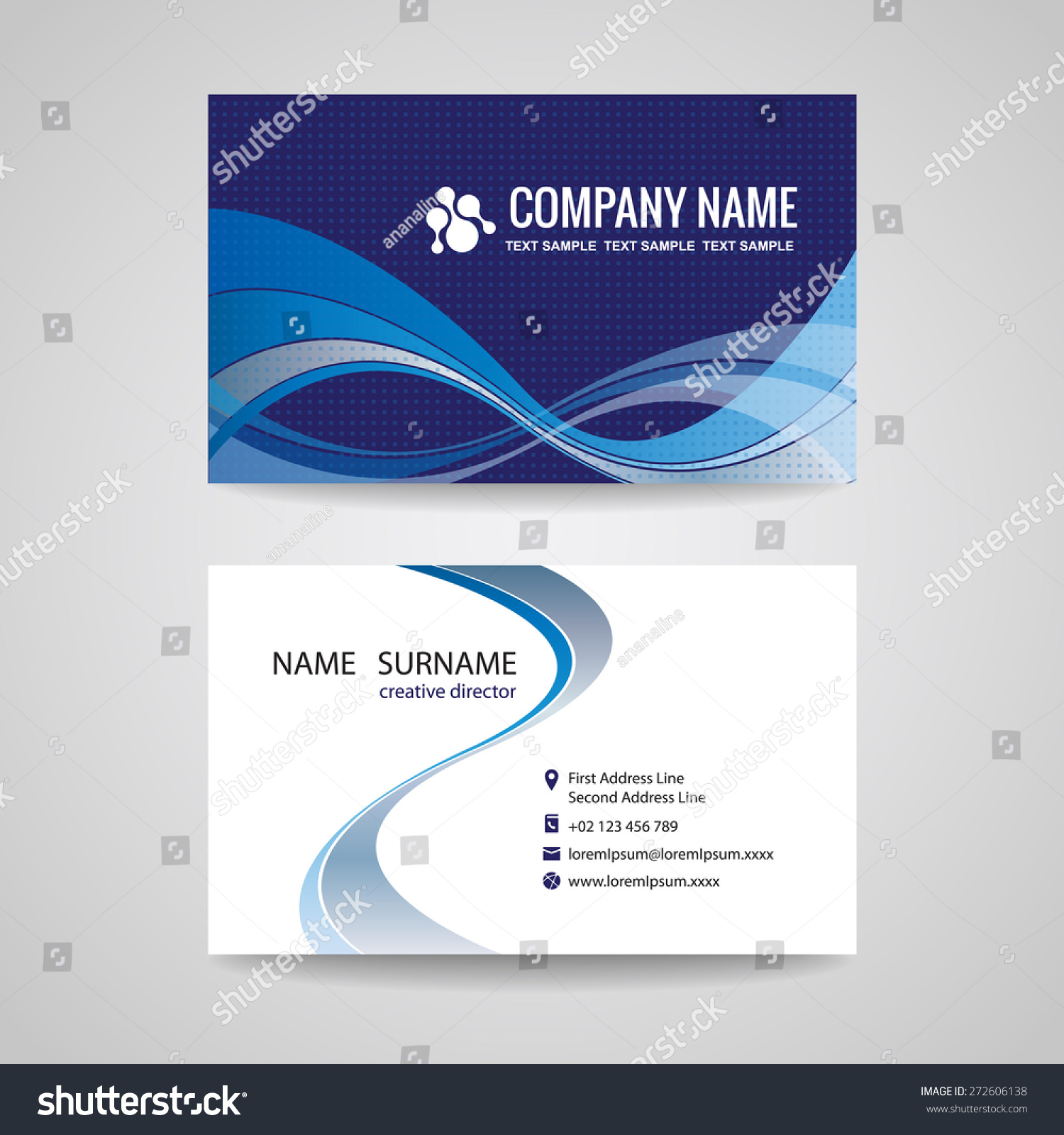 Business Card Background Template Abstract Blue Stock Vector ...