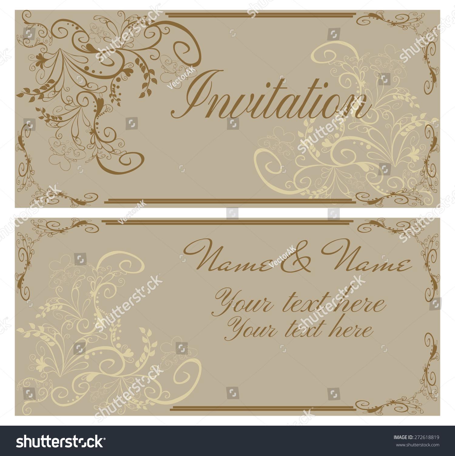 Vector Illustration Vintage Invitation Card Wedding Stock Vector ...