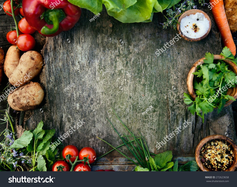 Healthy Food Ingredients Background Vegetables Herbs Stock