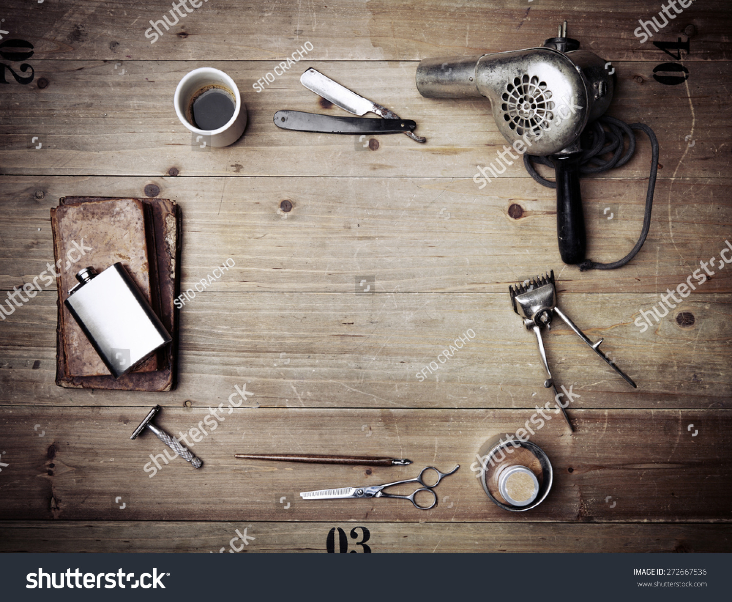 Barber Background : Vintage Barber Shop Equipment On Wood Background With Place For Stock ...