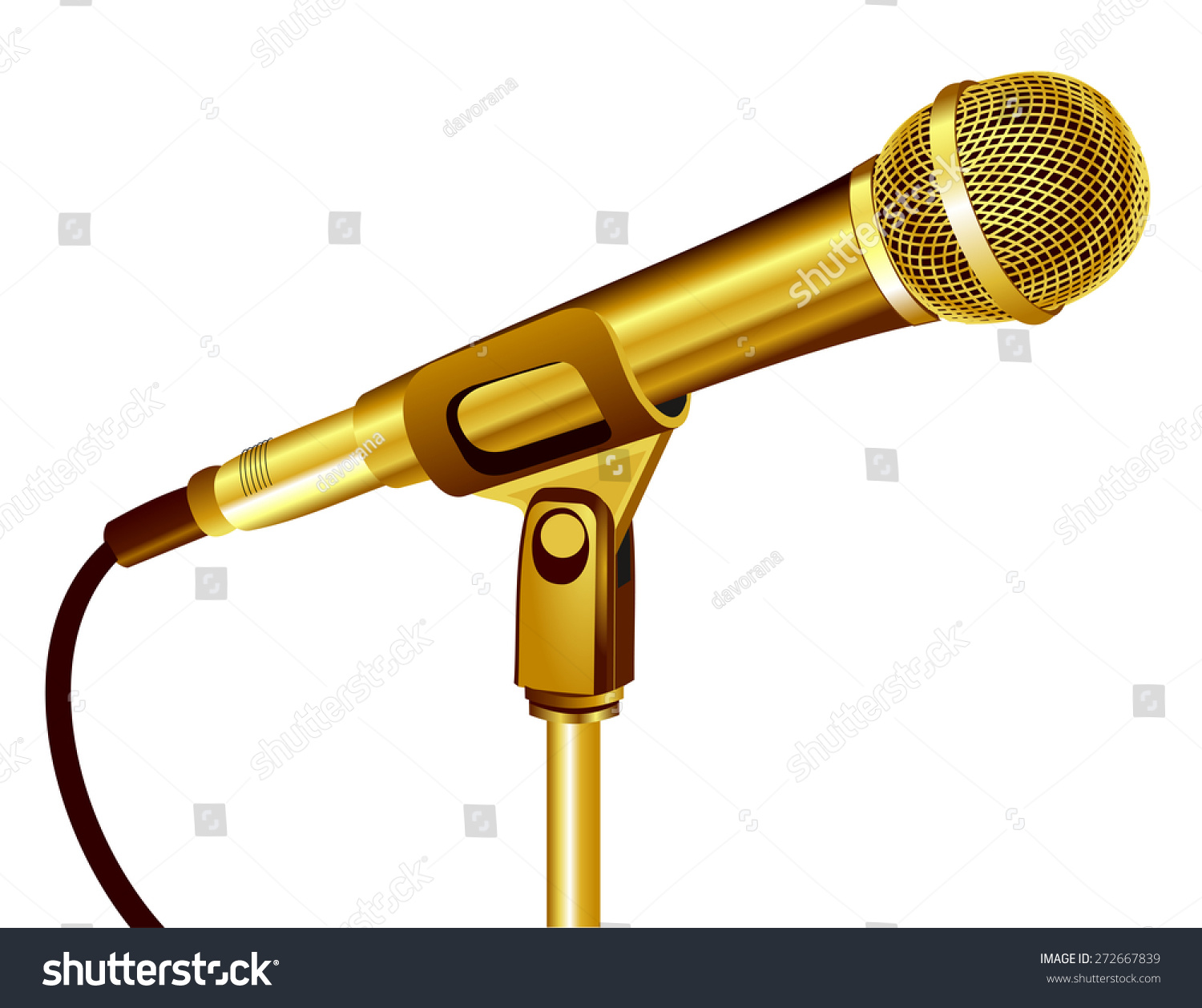 Close 3d Shiny Gold Microphone Golden Stock Vector