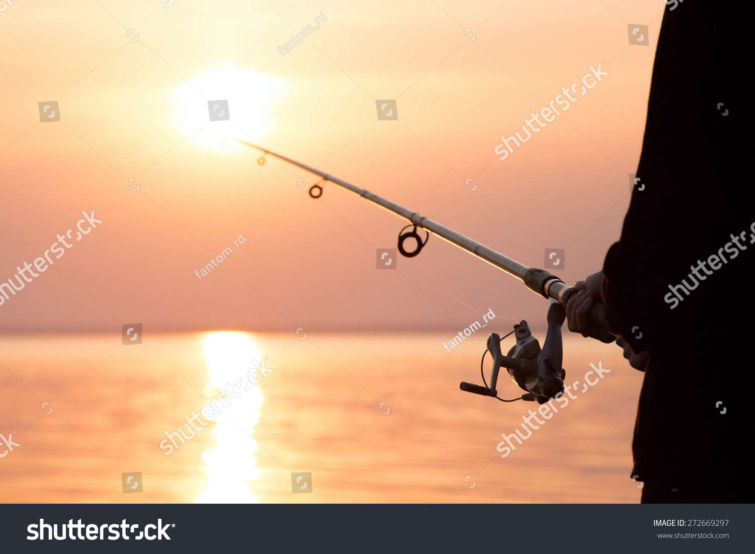 Young girl fishing sunset near sea stock photo 272669297 for Where to get a fishing license near me