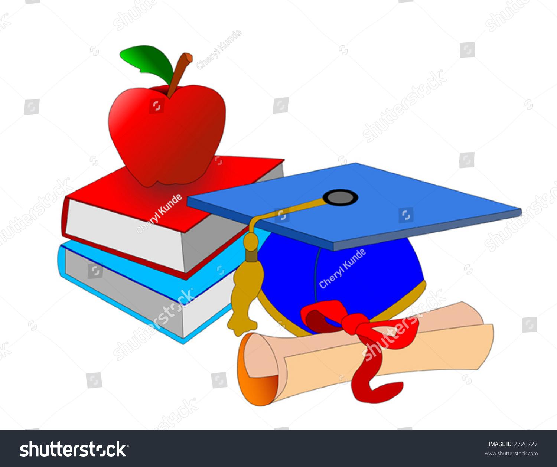 Symbols our school days capcertificatebooks apple stock vector symbols of our school days with capcertificatebooks and an apple for the buycottarizona