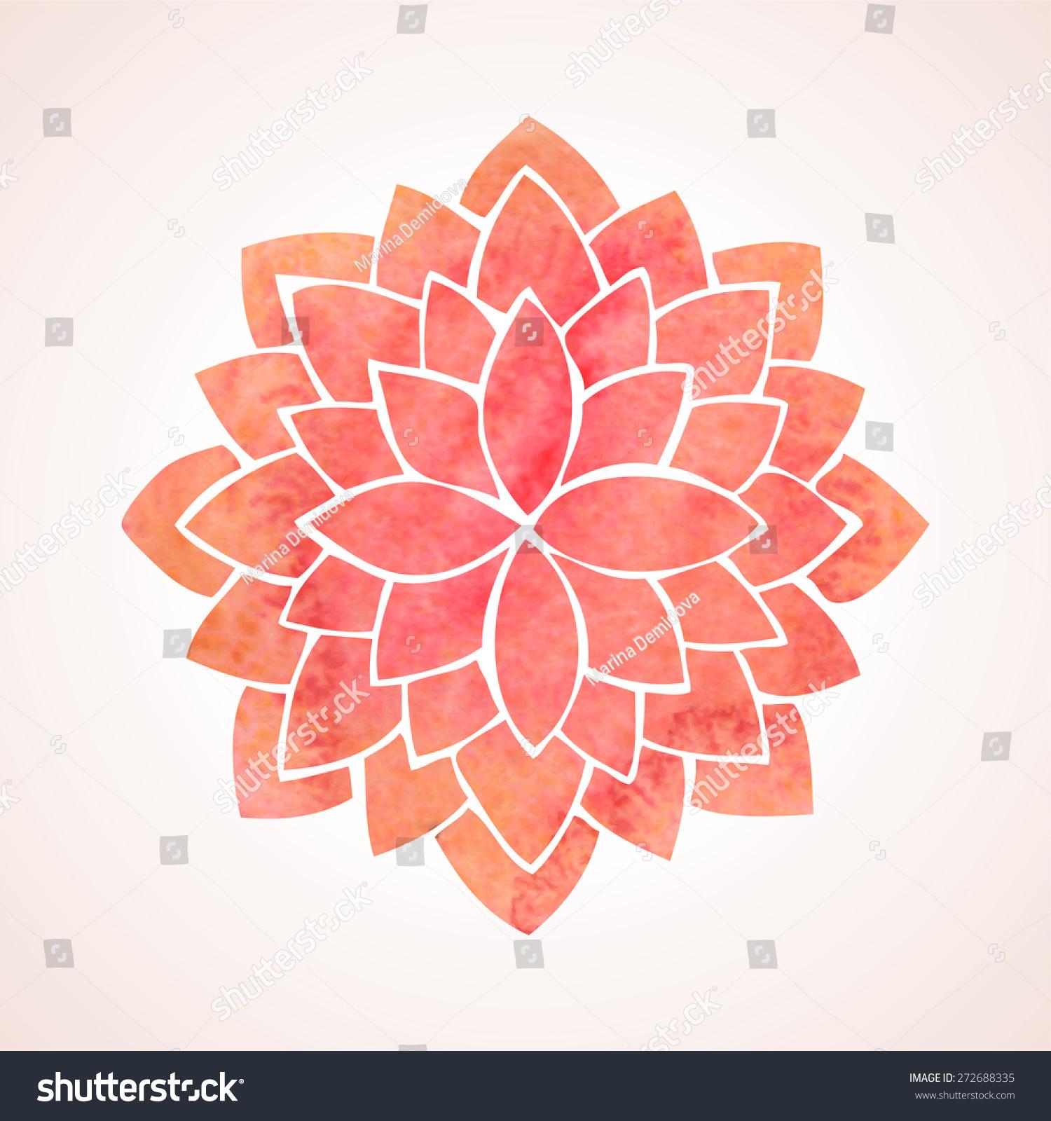 Watercolor Red Lotus Flower Mandala Oriental Stock Vector Royalty