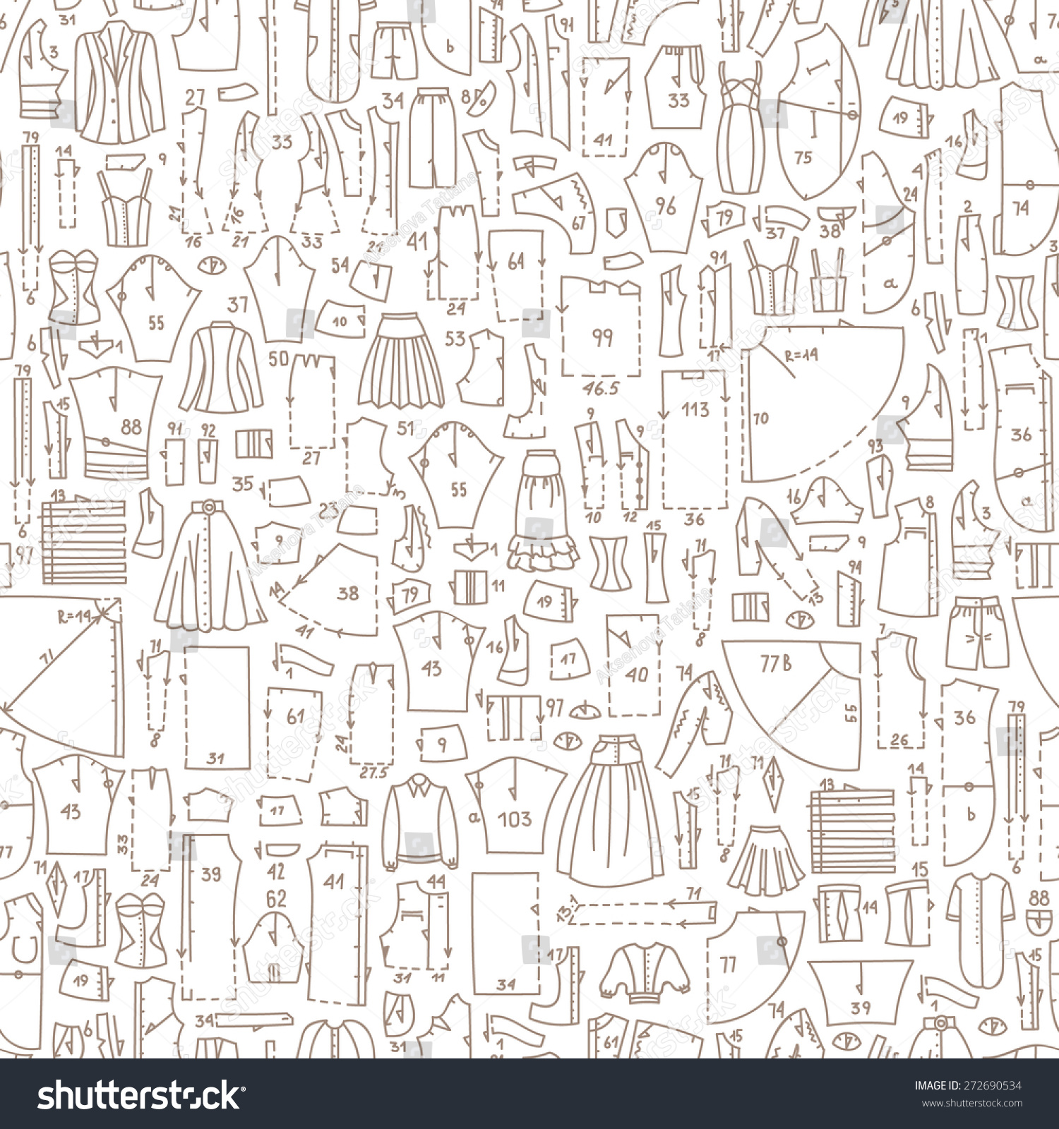 Seamless Hand Drawn Doodle Pattern Clothes Stock Vector (2018 ...