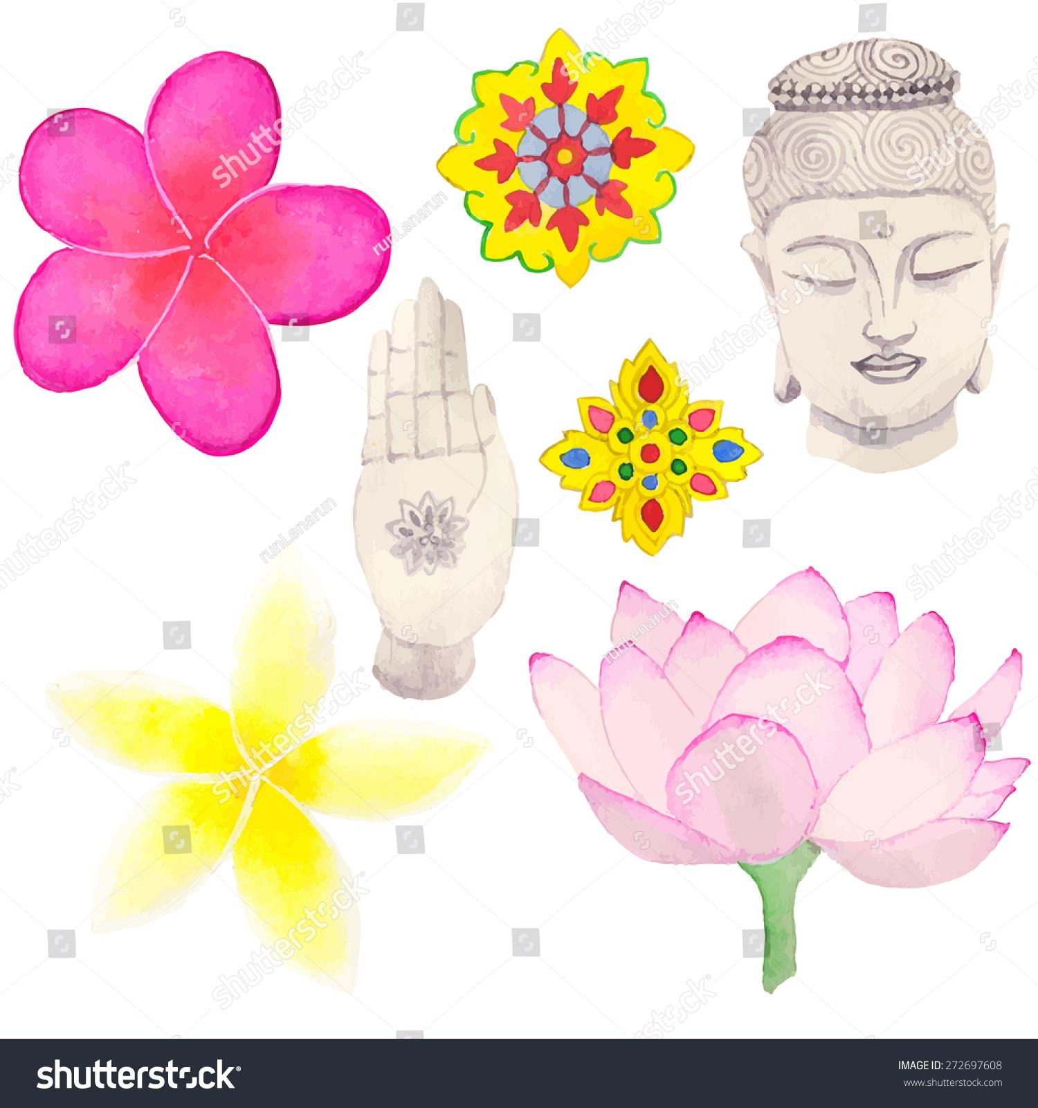 Set Thai Buddhism Symbols Handdrawn Elements Stock Vector Royalty