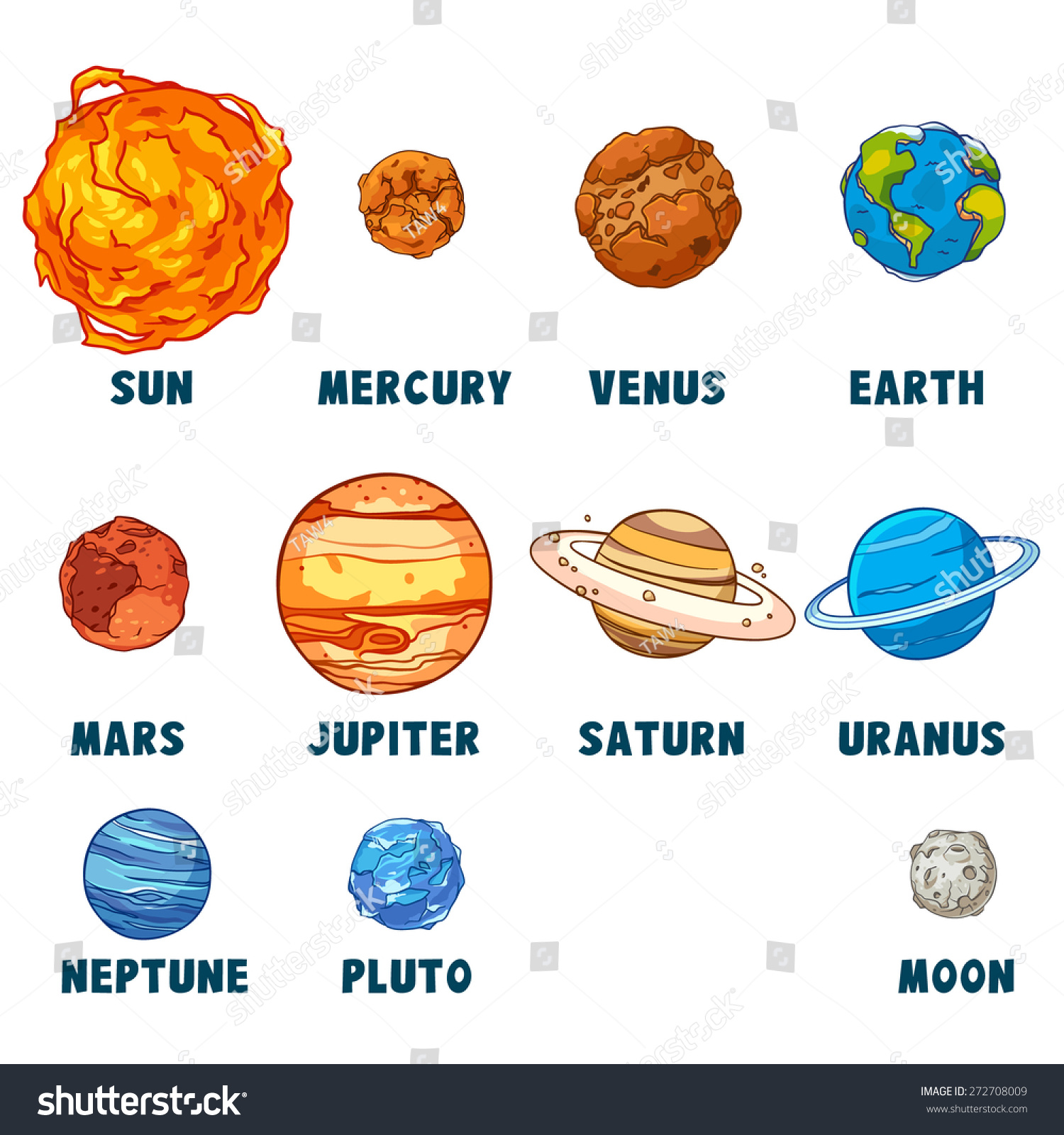 Solar System Isolated On White Background. Stock Vector ...