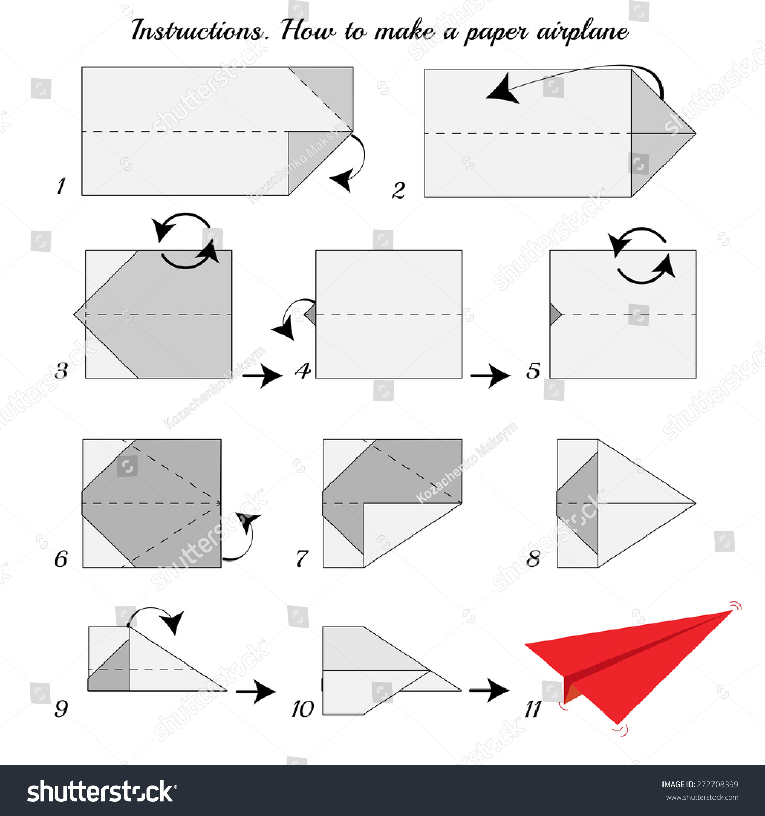 Instructions how to make paper airplane paper plane tutorial step by