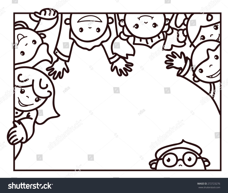 vector happy kids cartoons frame black stock vector