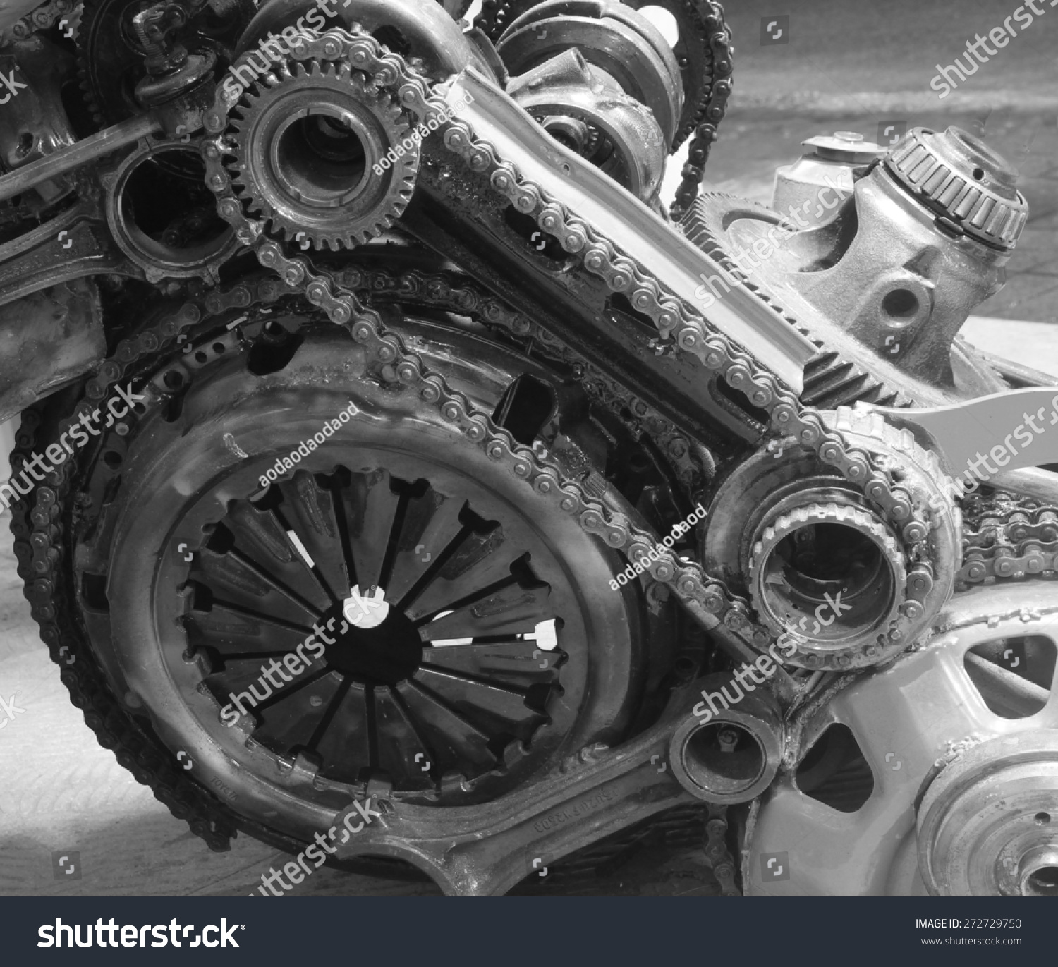 Old Engine Gears : Old gear chain machinery part background stock photo