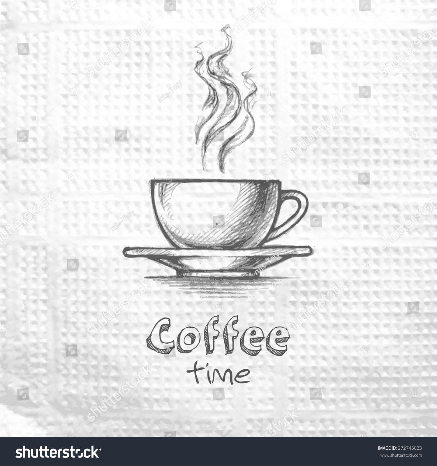 Coffee cup sketch - Sketch Hand Drawn Image Of Cup With Coffee Coffee Time Message On A Paper