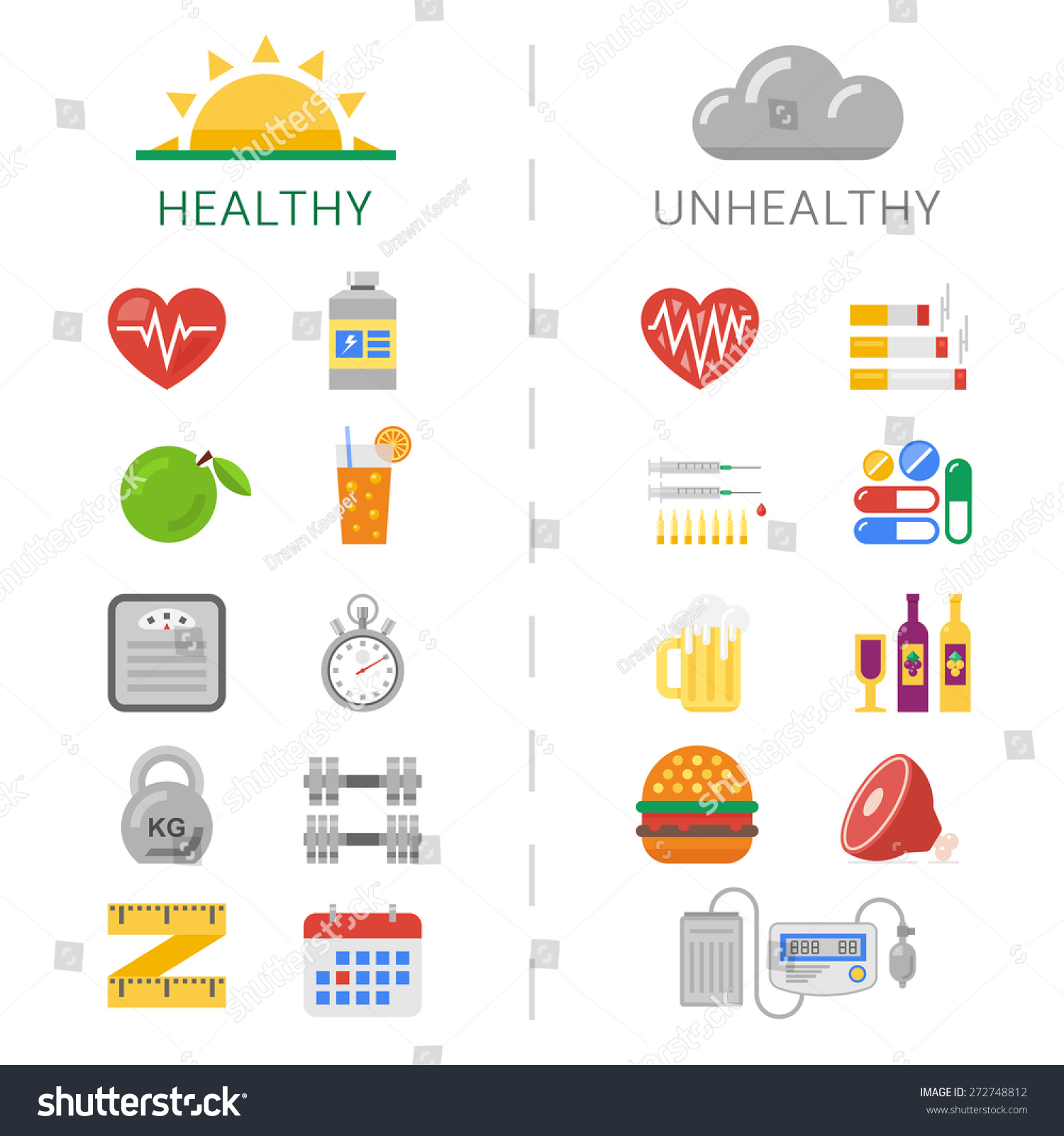 Fat and thin woman. stock vector. Illustration of ... |Unhealthy Lifestyle Icon