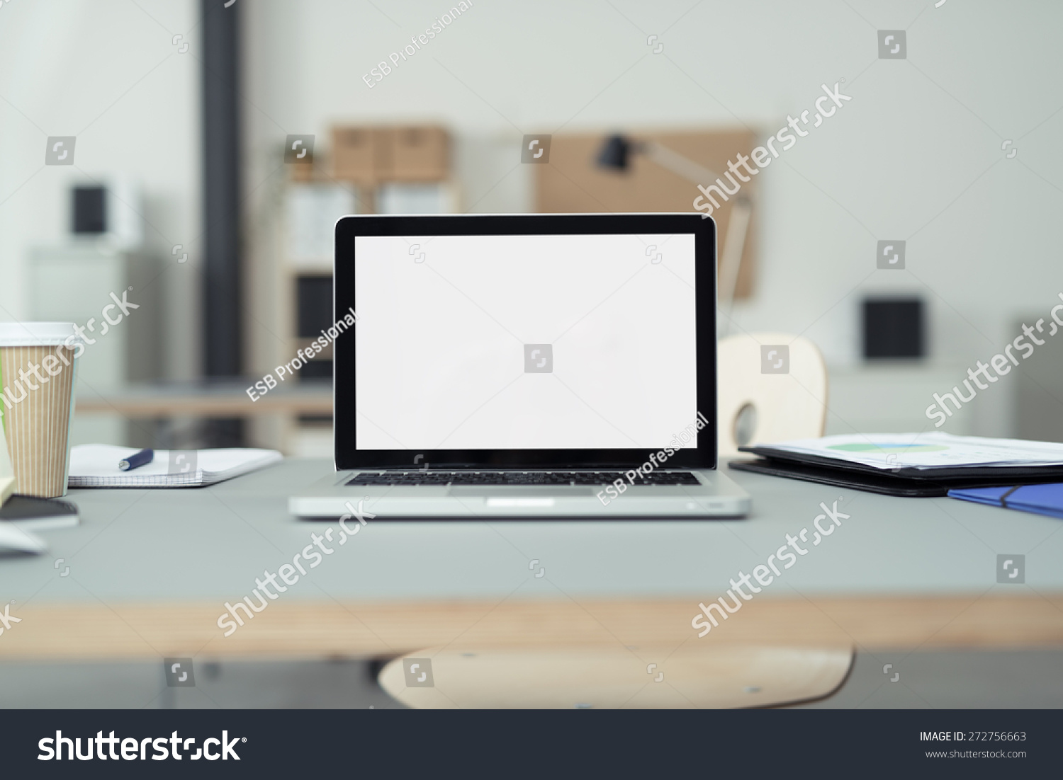 Close Laptop Computer On Top Office Stock Photo 272756663