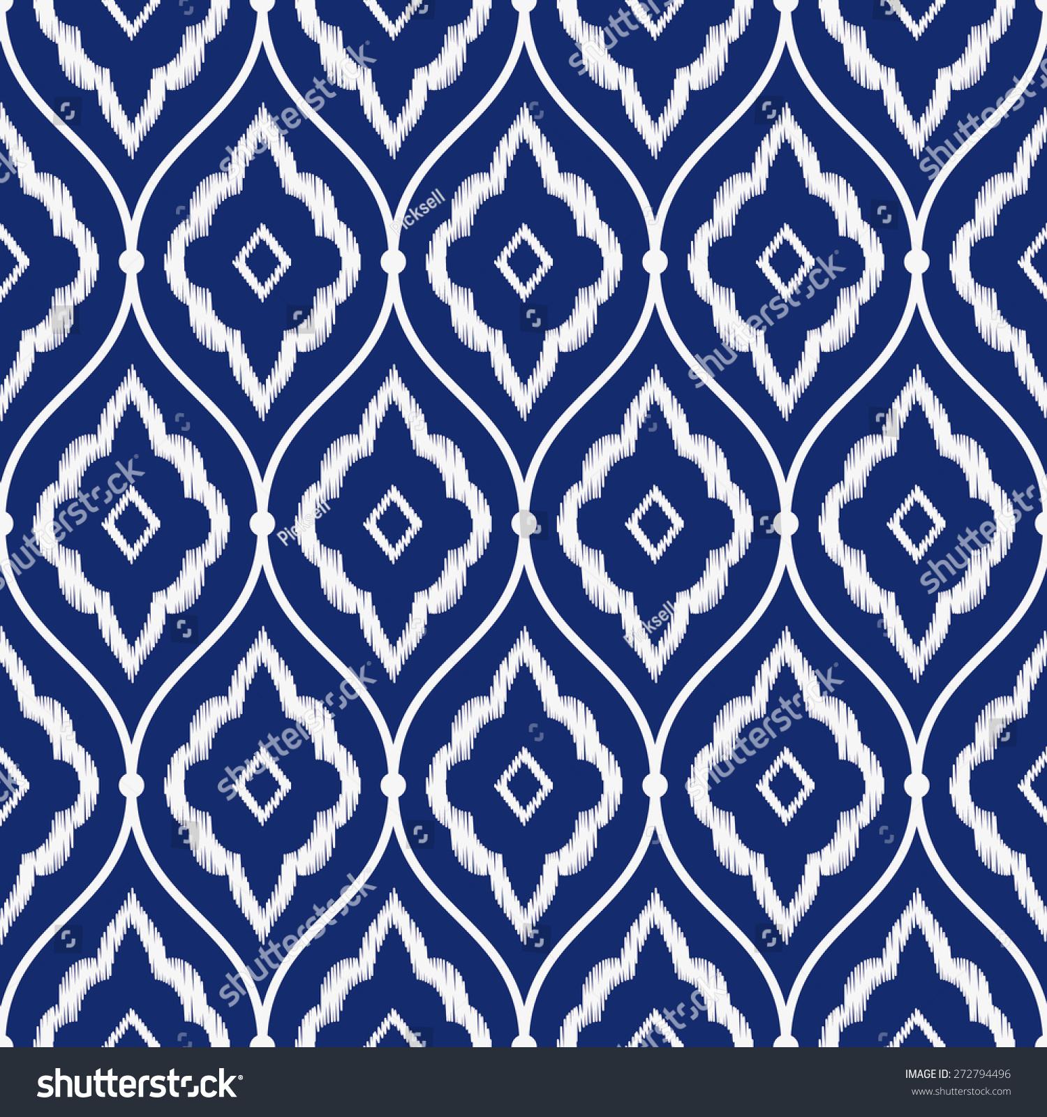 Seamless Porcelain Indigo Blue White Vintage Stock Vector