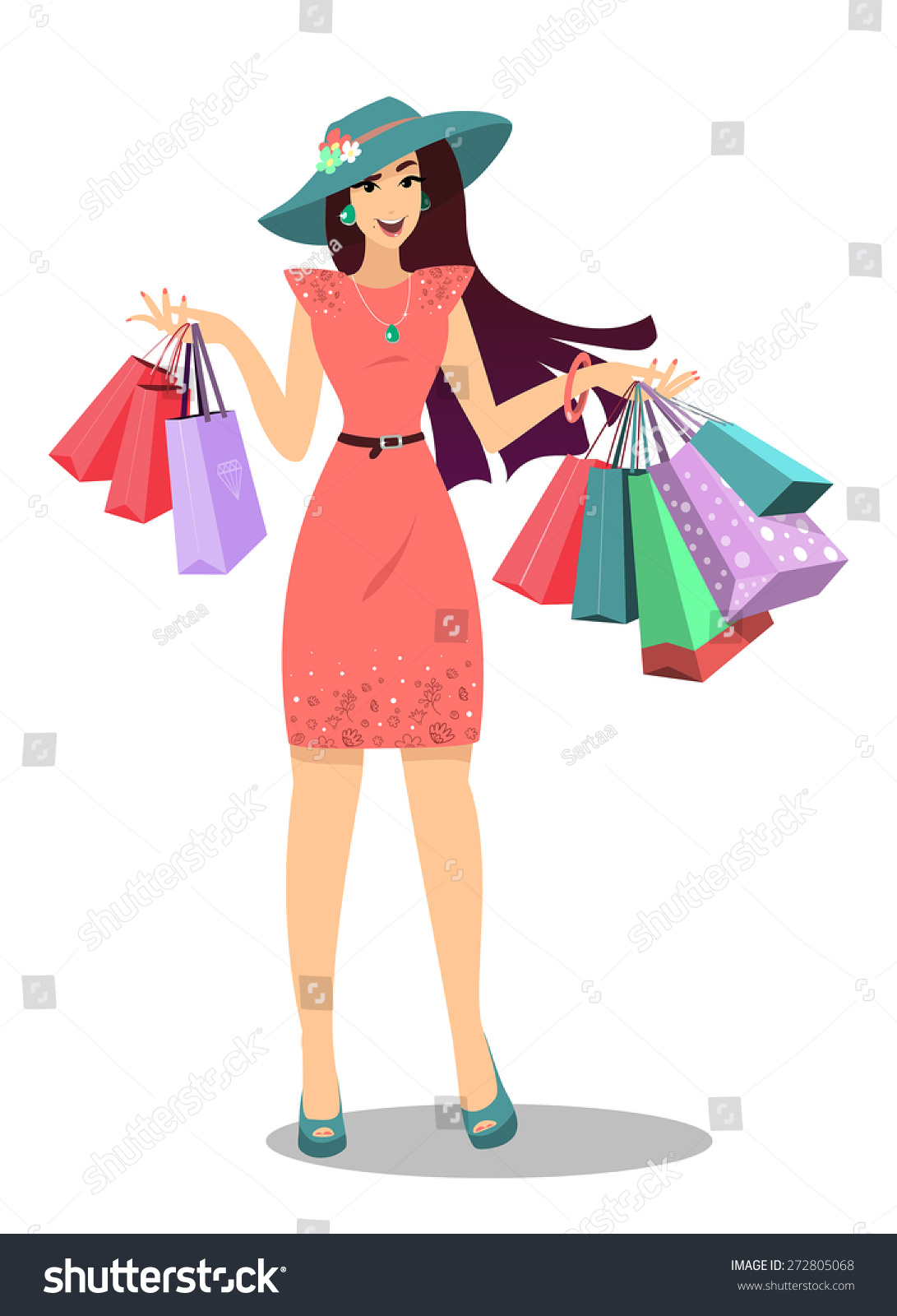 Smiling Woman Shopping Bags Happy Shopping Stock Vector ...