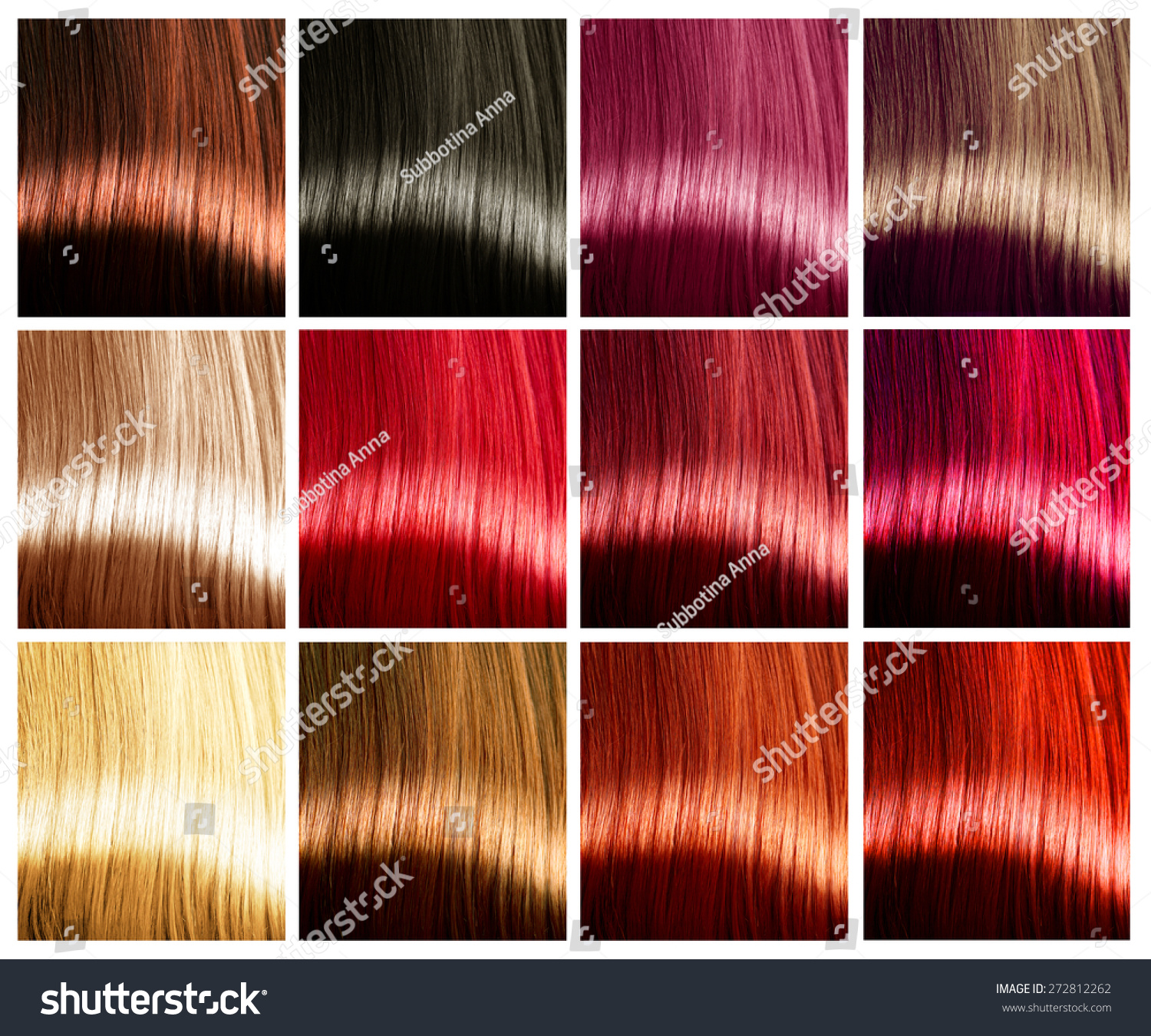 Hair Colors Palette Hair Colours Set Stock Photo 272812262 ...
