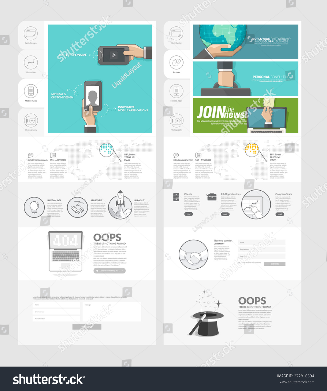 Website Template Concept Icons Business Company Vector – Company Portfolio Template