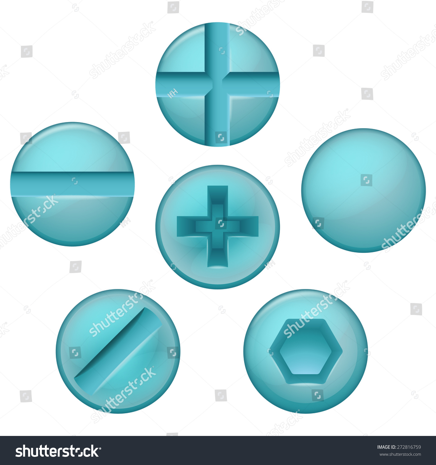 Set Different Types Screw Blue Color Stock Vector 272816759 ...