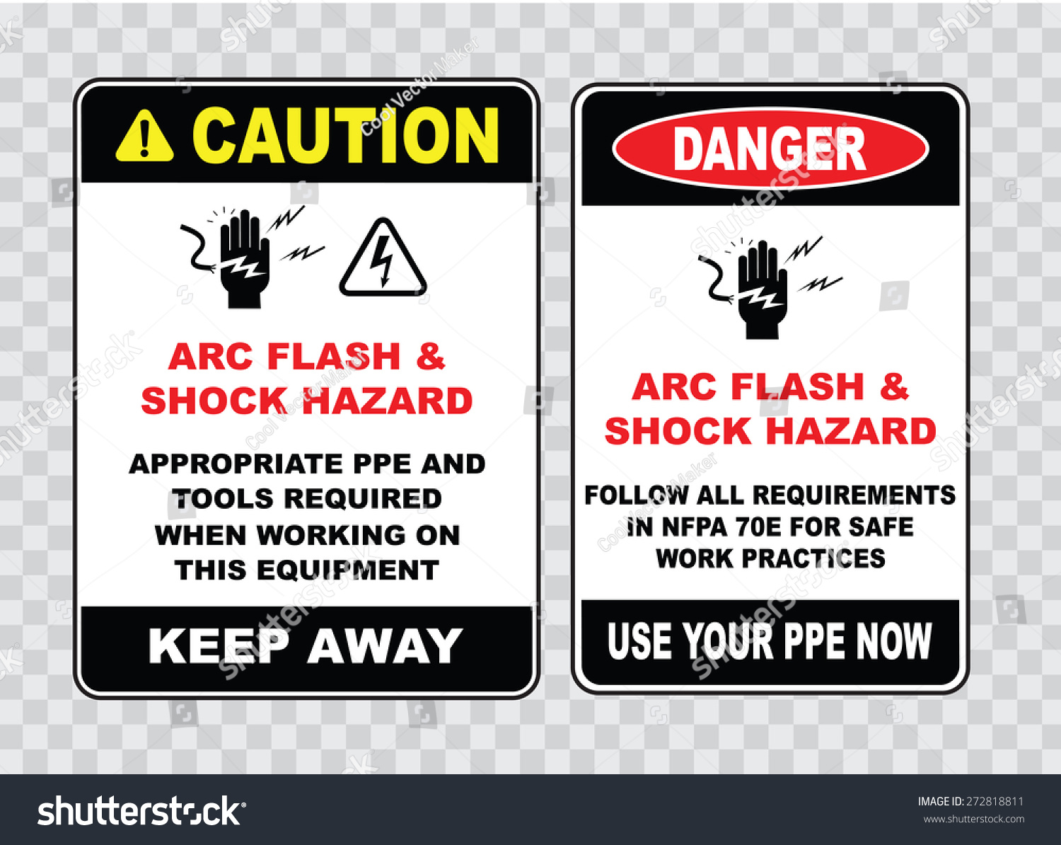 high voltage sign or electrical safety sign arc flash shock hazard appropriate ppe and tools