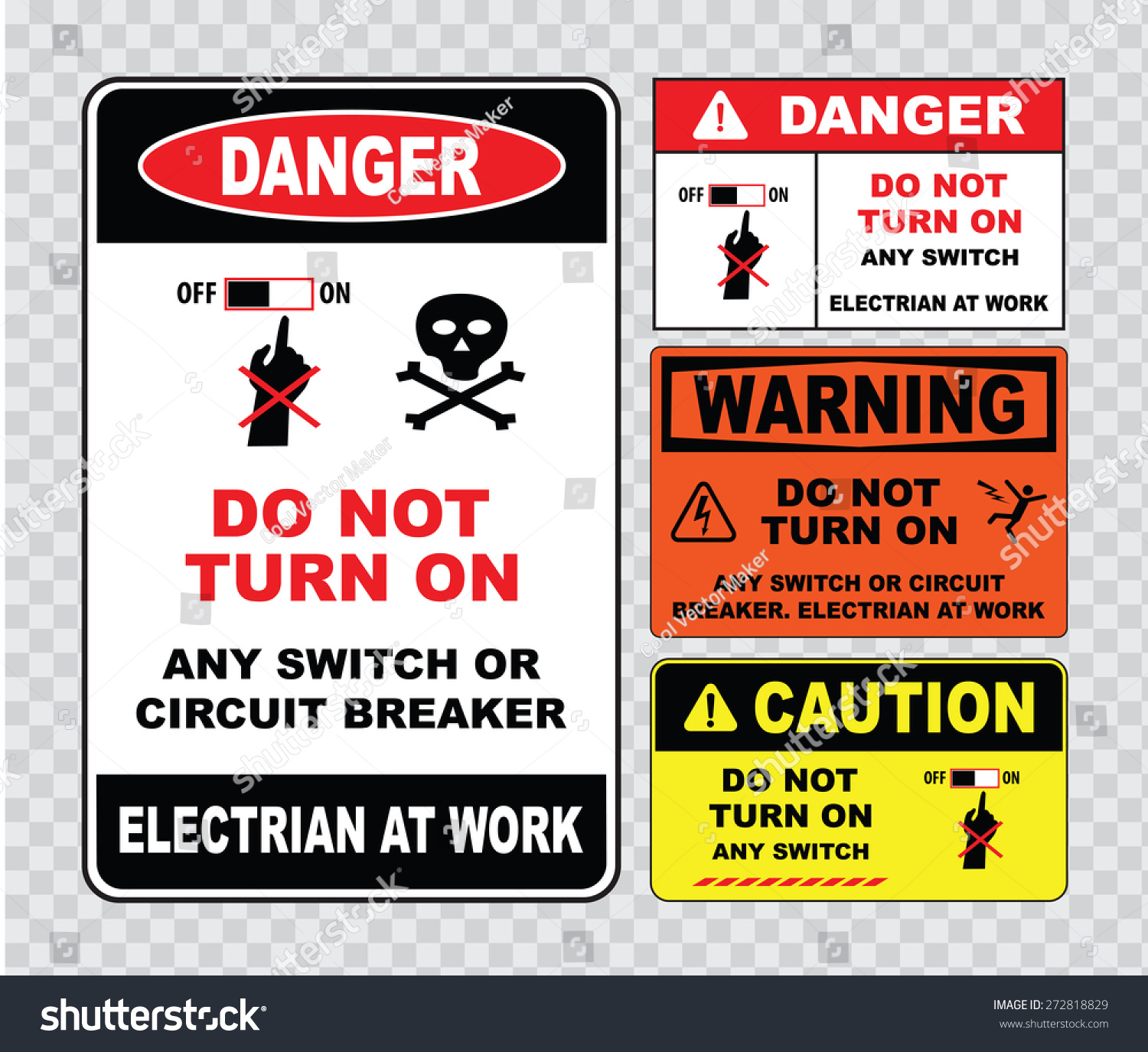 High Voltage Sign Electrical Safety Stock Vector Royalty Free How A Circuit Breaker Works Or Do Not Turn On Any Switch