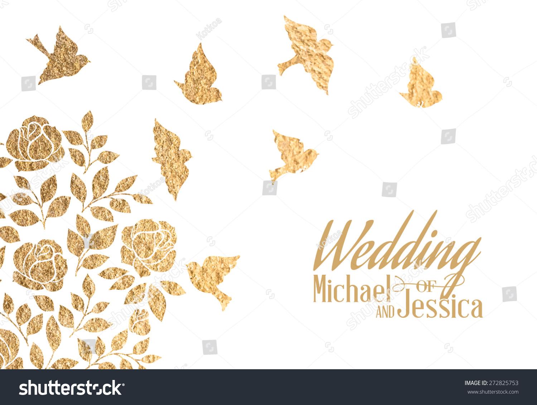 Gold wedding invitation vector illustration stock vector 272825753 gold wedding invitation vector illustration stopboris Gallery