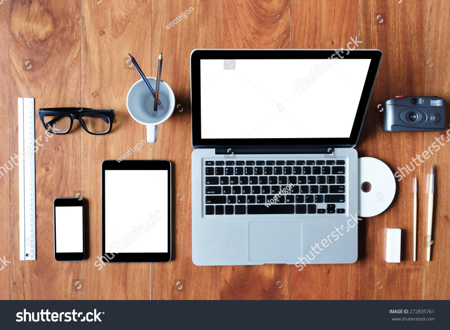 Flat Lay Laptop Tablet Phone On Stock Photo 272835761