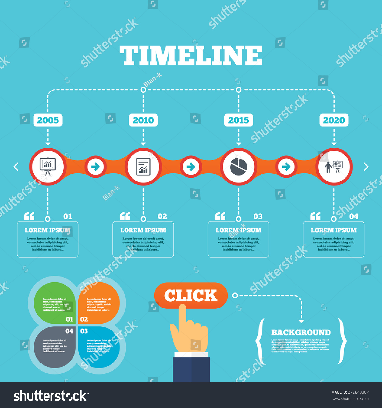 Timeline arrows quotes file document diagram stock vector 272843387 timeline with arrows and quotes file document with diagram pie chart icon presentation ccuart Images