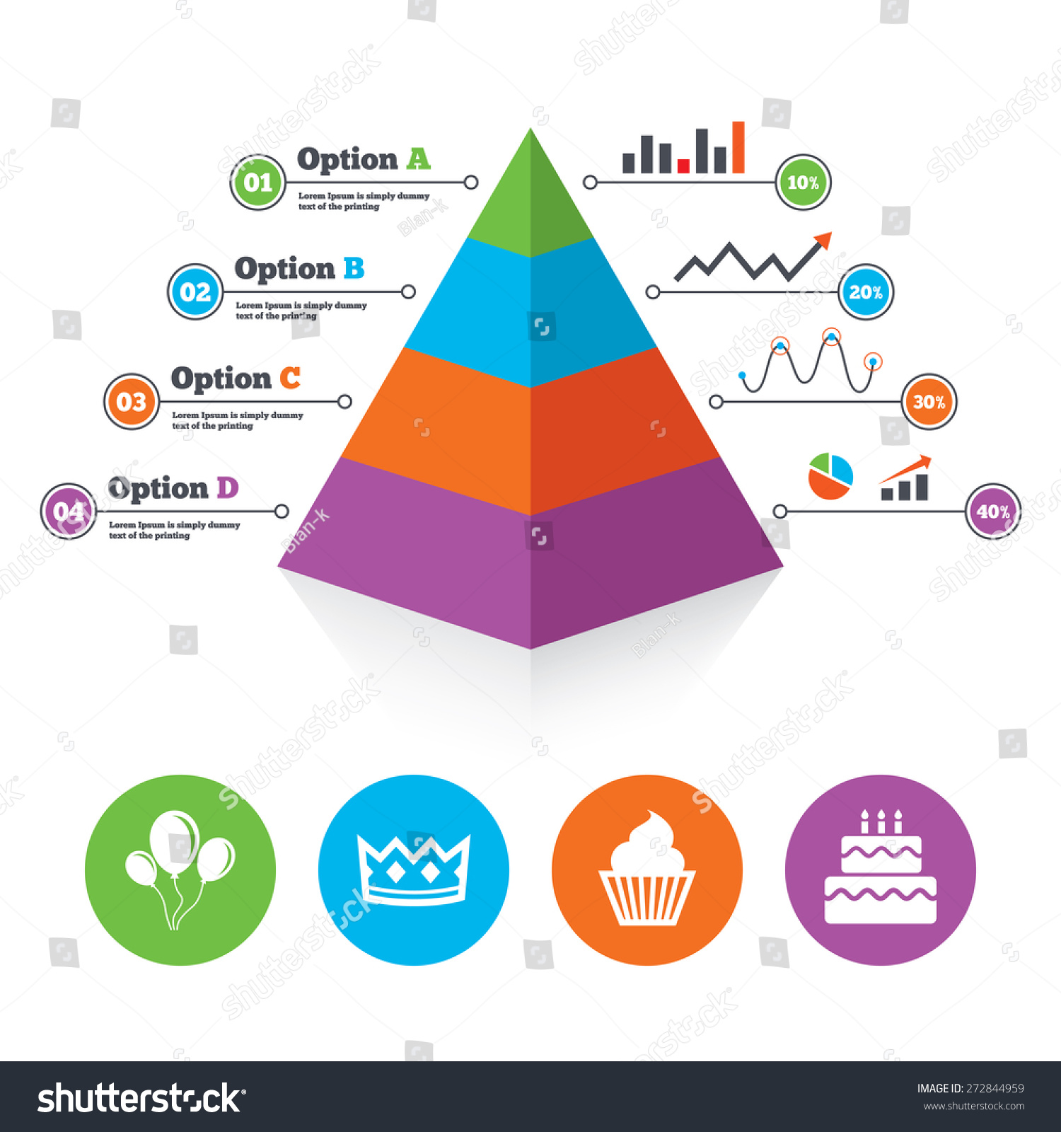 Pyramid chart template birthday crown party stock vector 272844959 pyramid chart template birthday crown party icons cake and cupcake signs air balloons maxwellsz